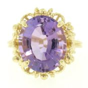 14k Solid Yellow Gold Rope Frame Large 6.71 ct Oval Step Amethyst Solitaire Ring