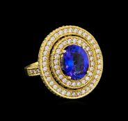 14KT Yellow Gold 3.40 ctw Tanzanite and Diamond Ring