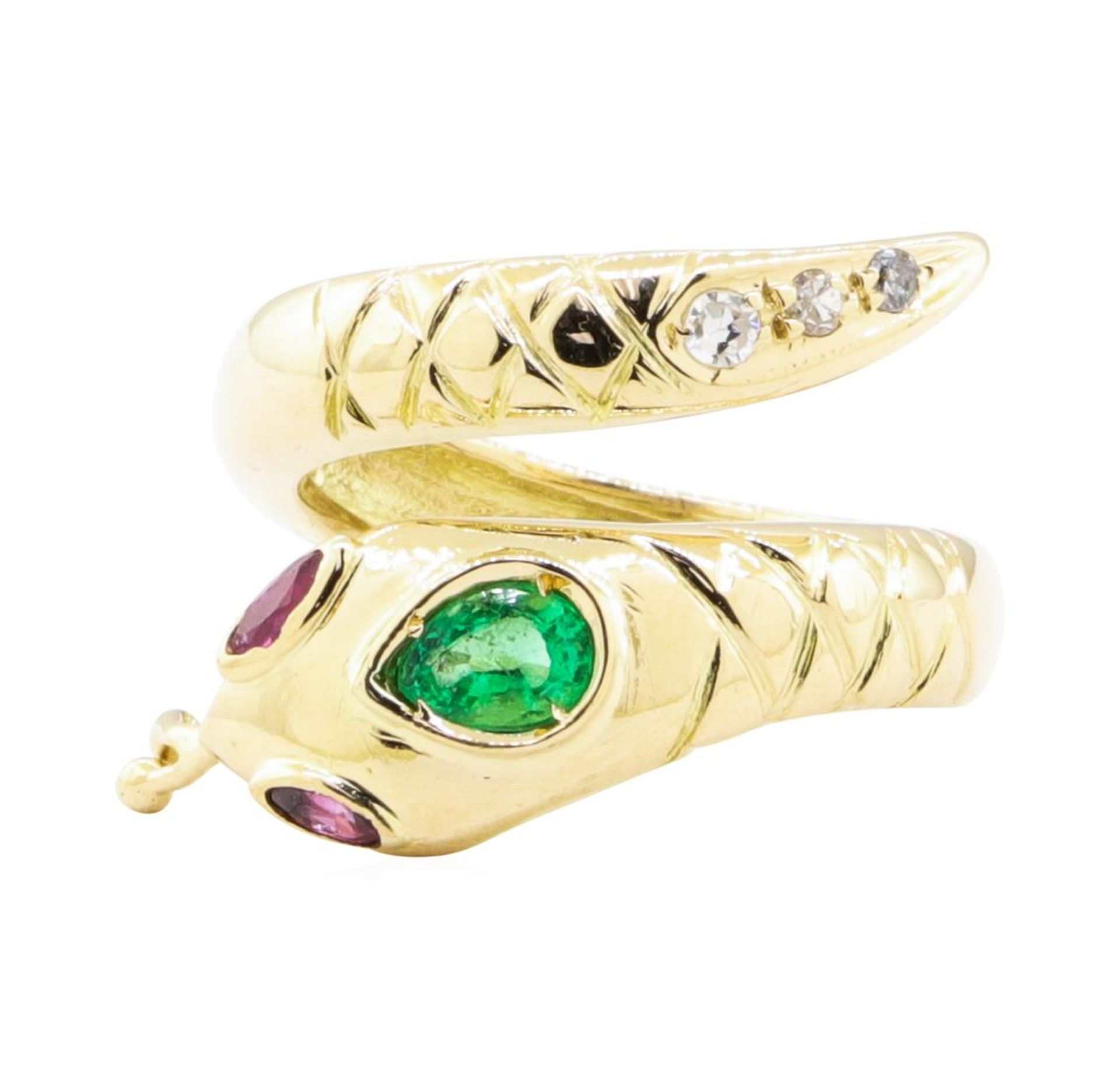 0.66ctw Emerald, Ruby, and Diamond Snake Ring - 14KT Yellow Gold - Image 2 of 4