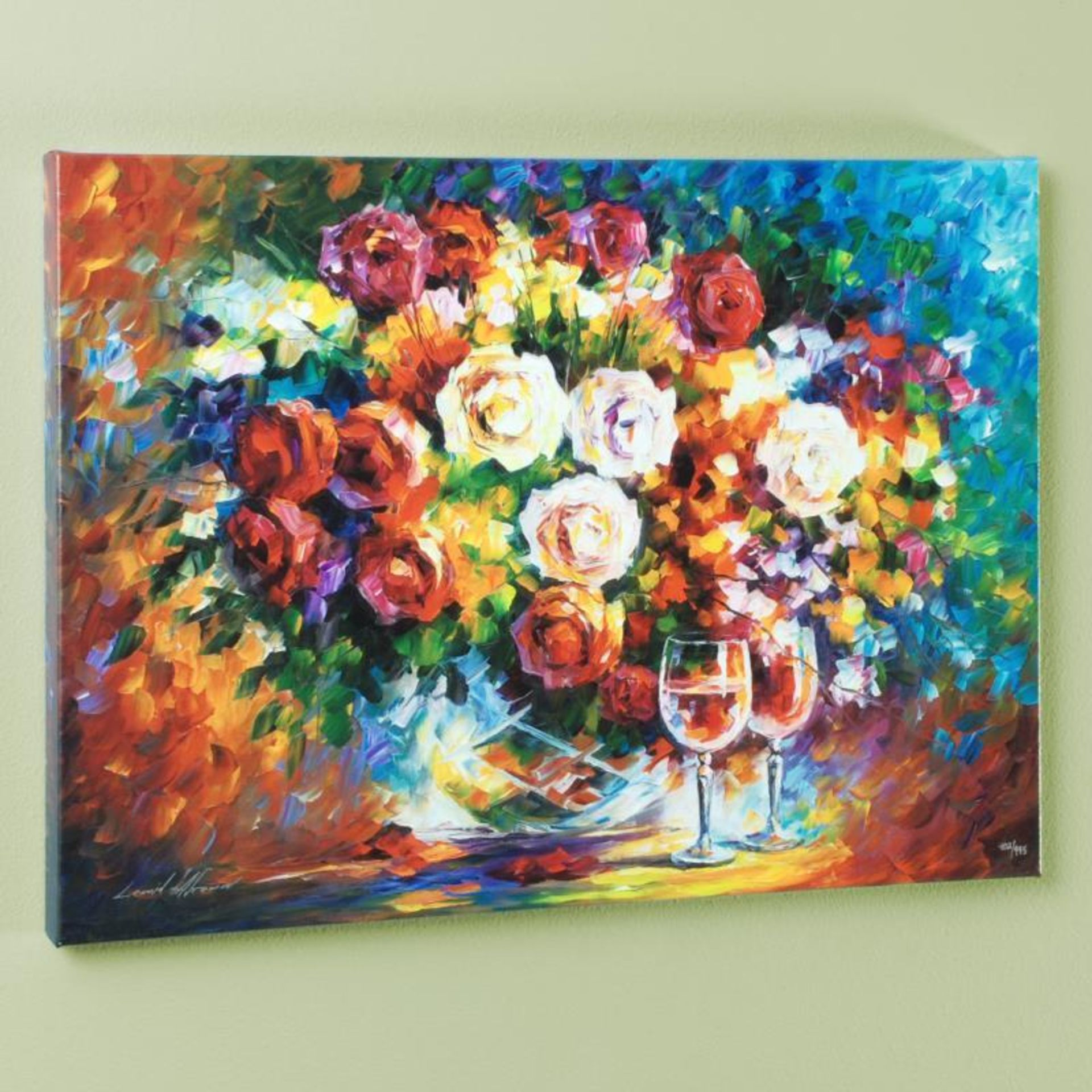 """Leonid Afremov (1955-2019) """"Roses and Wine"""" Limited Edition Giclee on Canvas, Nu - Image 3 of 3"""