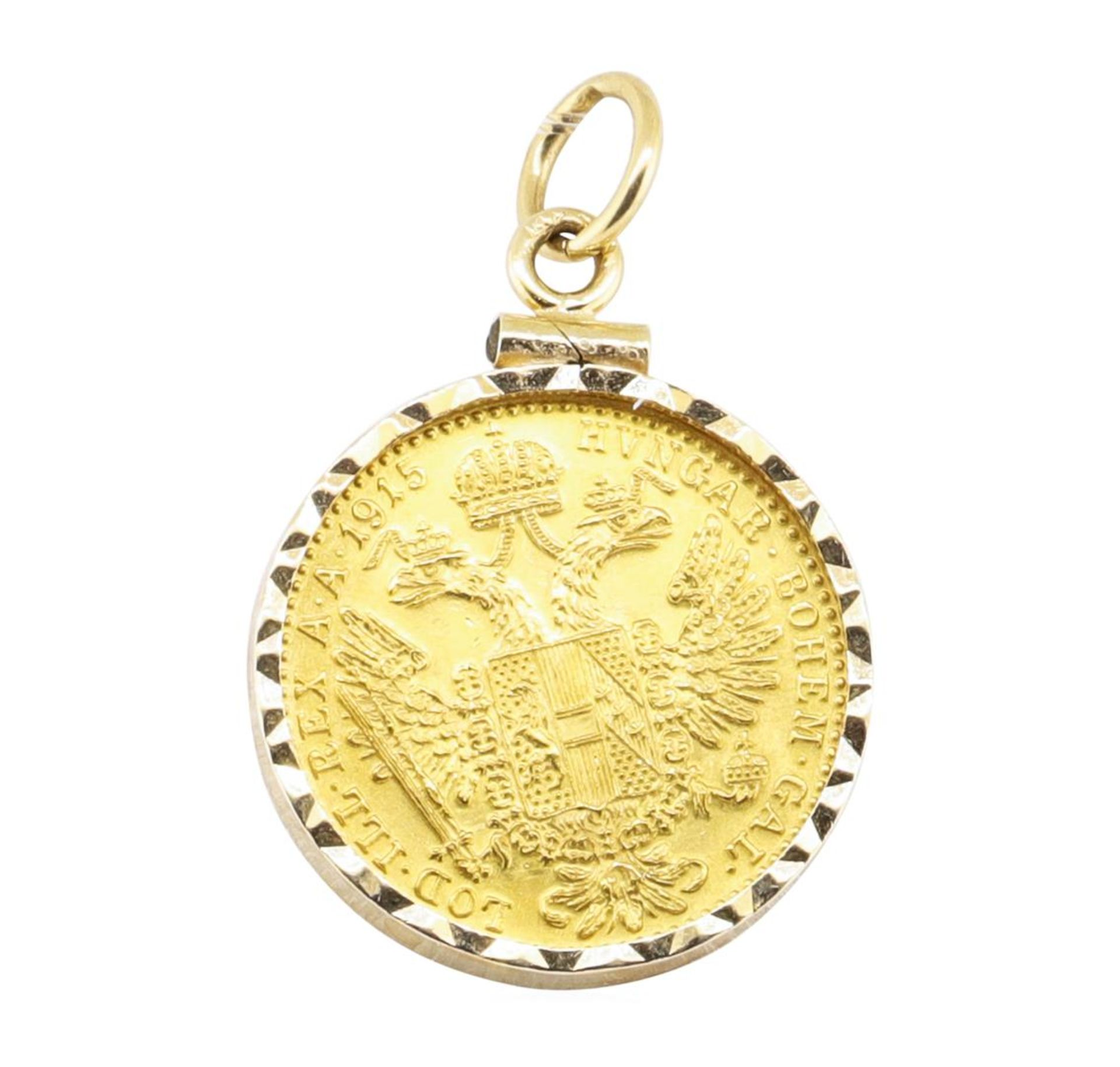 Austrain Ducat Pendant with Frame - 14 - 23KT Yellow Gold - Image 2 of 2