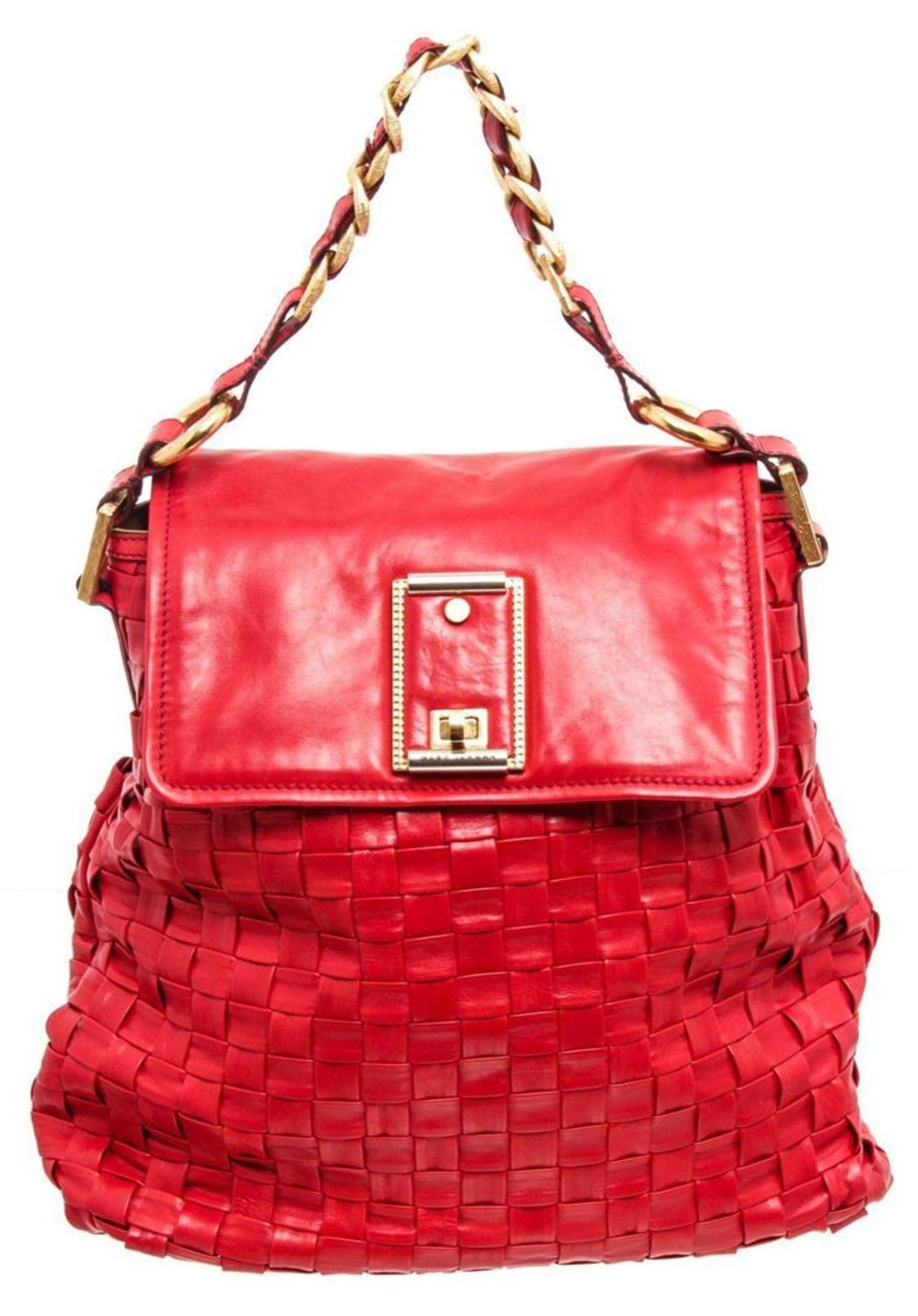 Marc Jacobs Red Leather Woven Hobo Shoulder Bag