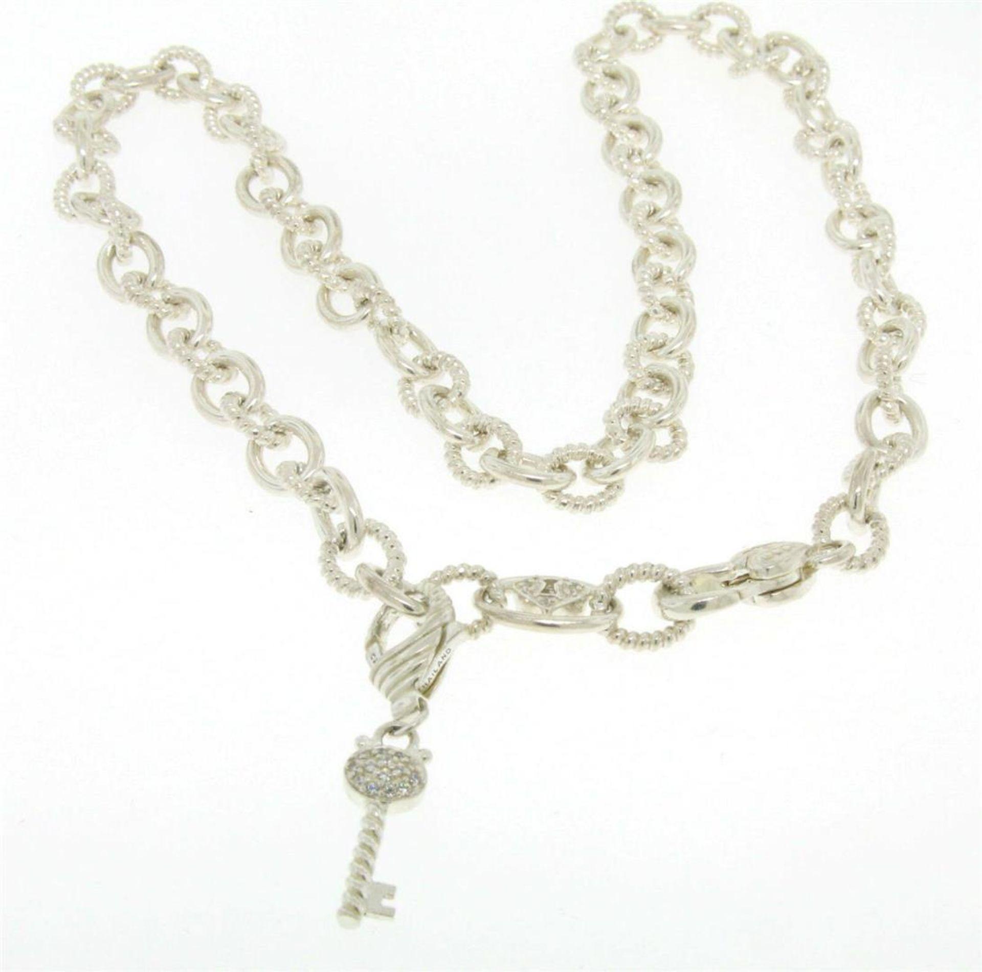 Elaborate JUDITH RIPKA Solid .925 Sterling Silver Chain w/ Diamonique Key Enhanc