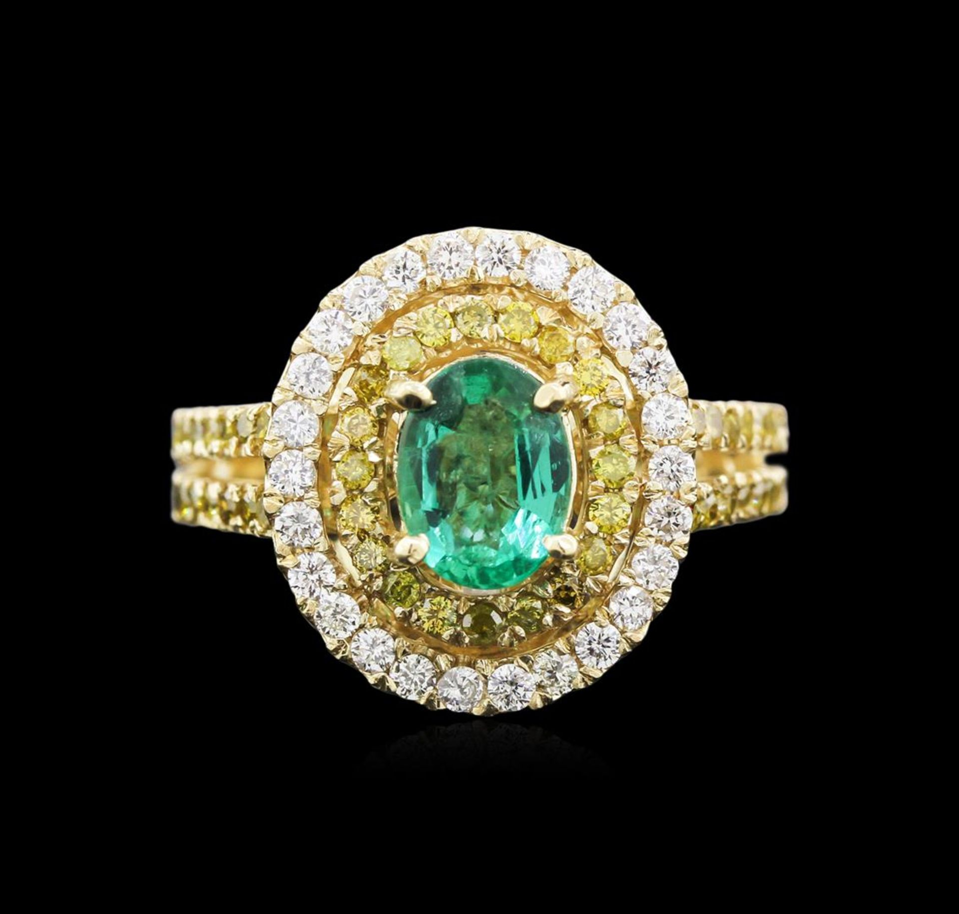 0.88 ctw Emerald and Diamond Ring - 14KT Yellow Gold - Image 2 of 3