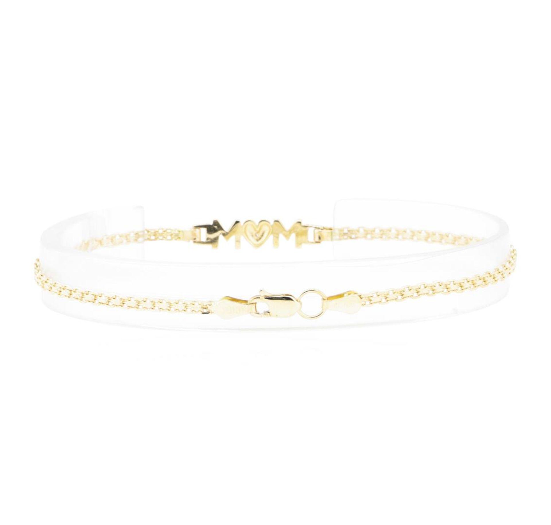 "0.01ct Diamond ""Mom"" Motif Bracelet - 10KT Yellow Gold - Image 2 of 2"