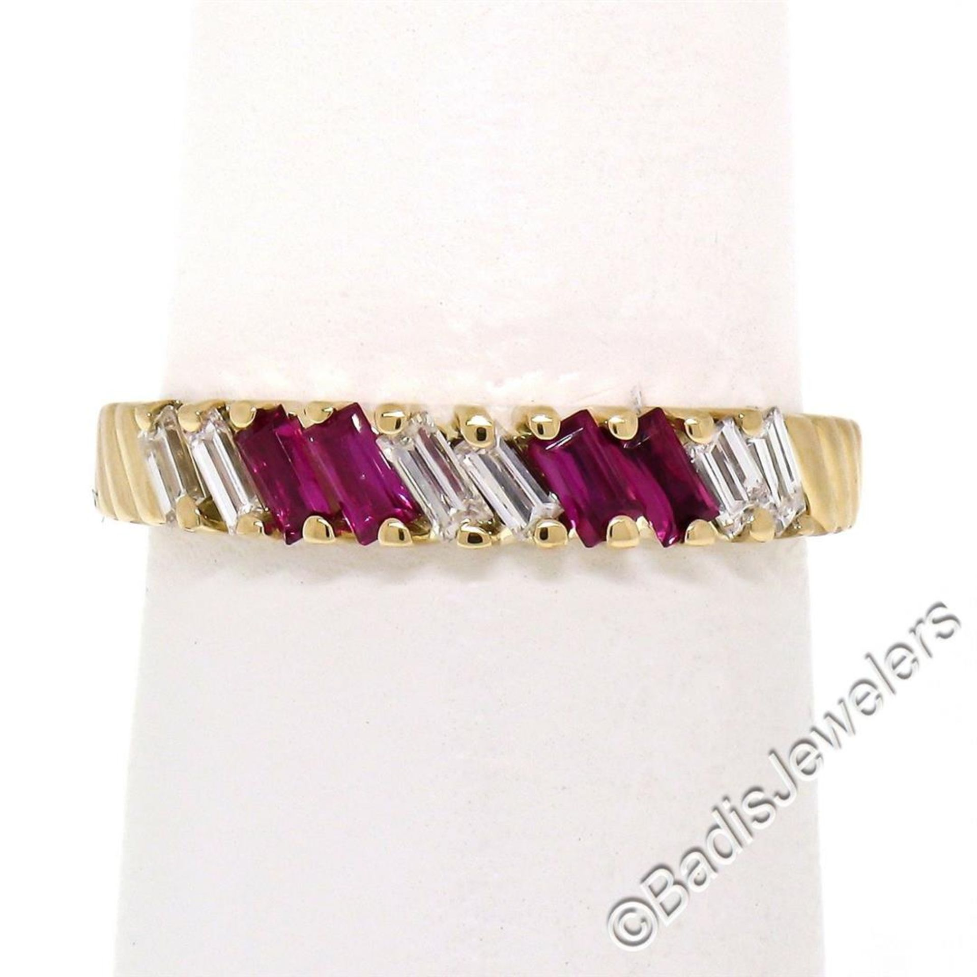 Vintage 18kt Yellow Gold 0.75ctw Baguette Diamond and Ruby Band Ring