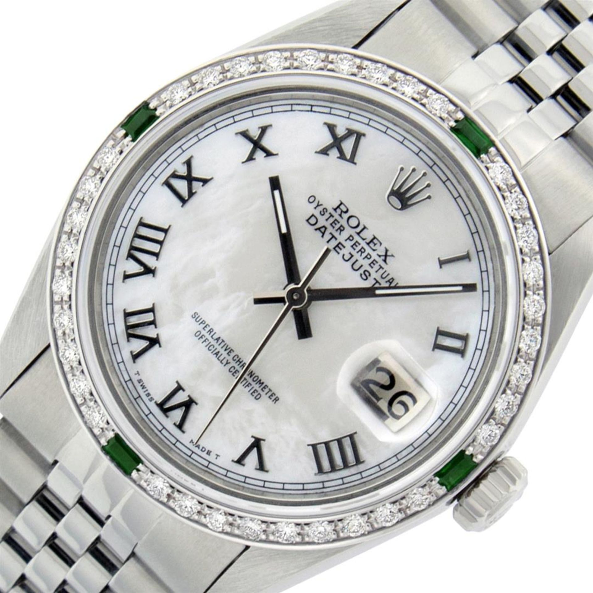Rolex Mens Stainless Steel Silver MOP Roman 36MM Diamond & Emerald Datejust - Image 2 of 9