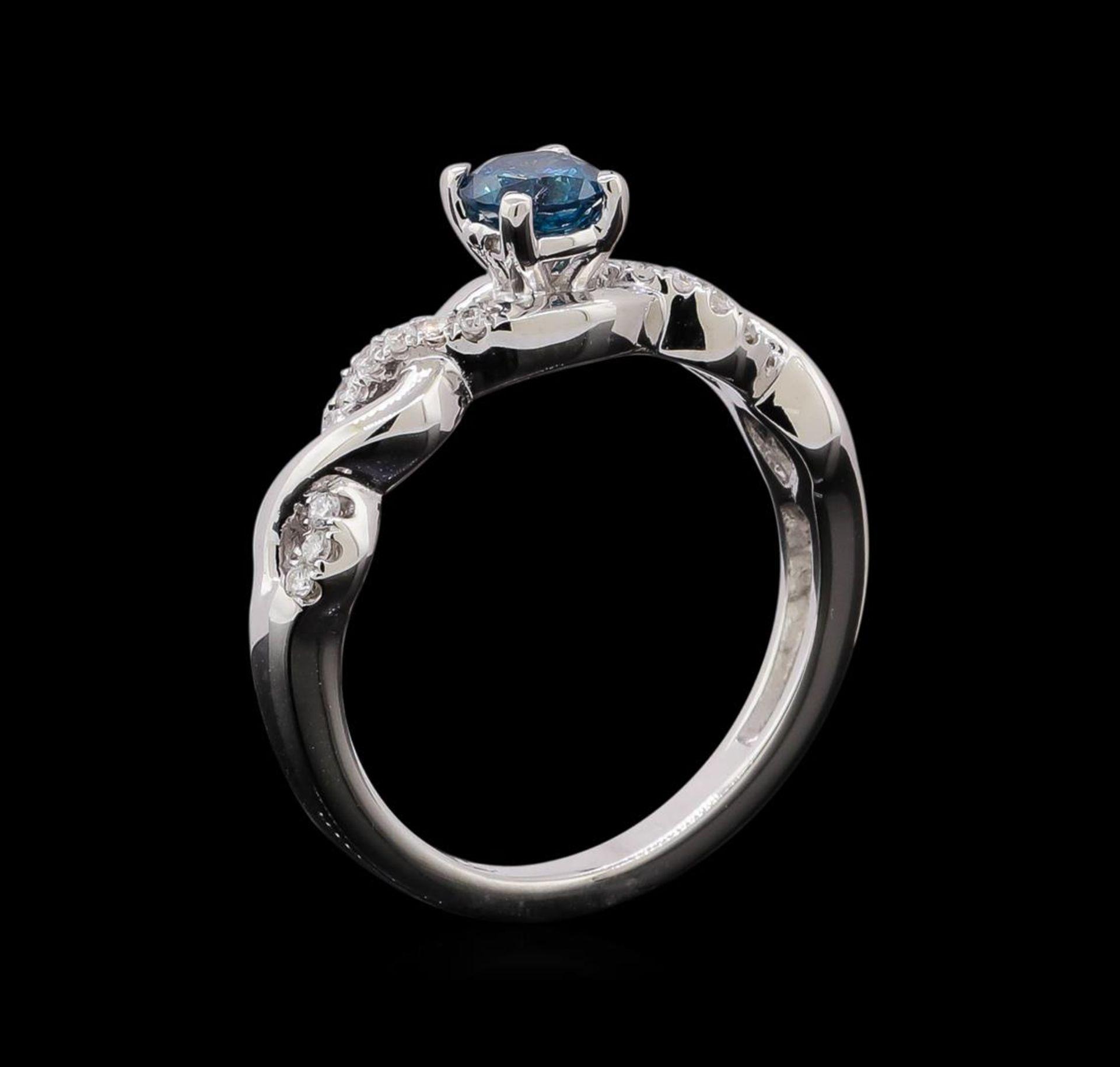 0.49 ctw Blue Diamond Ring - 14KT White Gold - Image 4 of 4