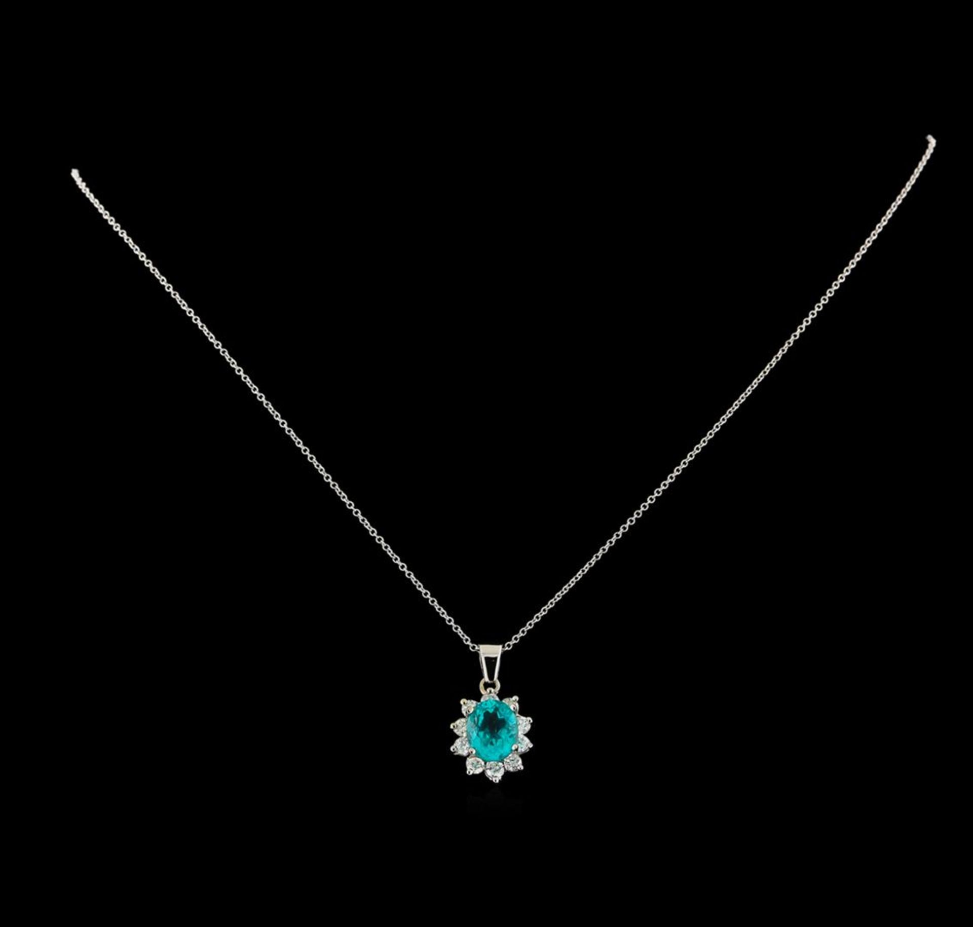 3.04 ctw Apatite and Diamond Pendant With Chain - 14KT White Gold - Image 2 of 3