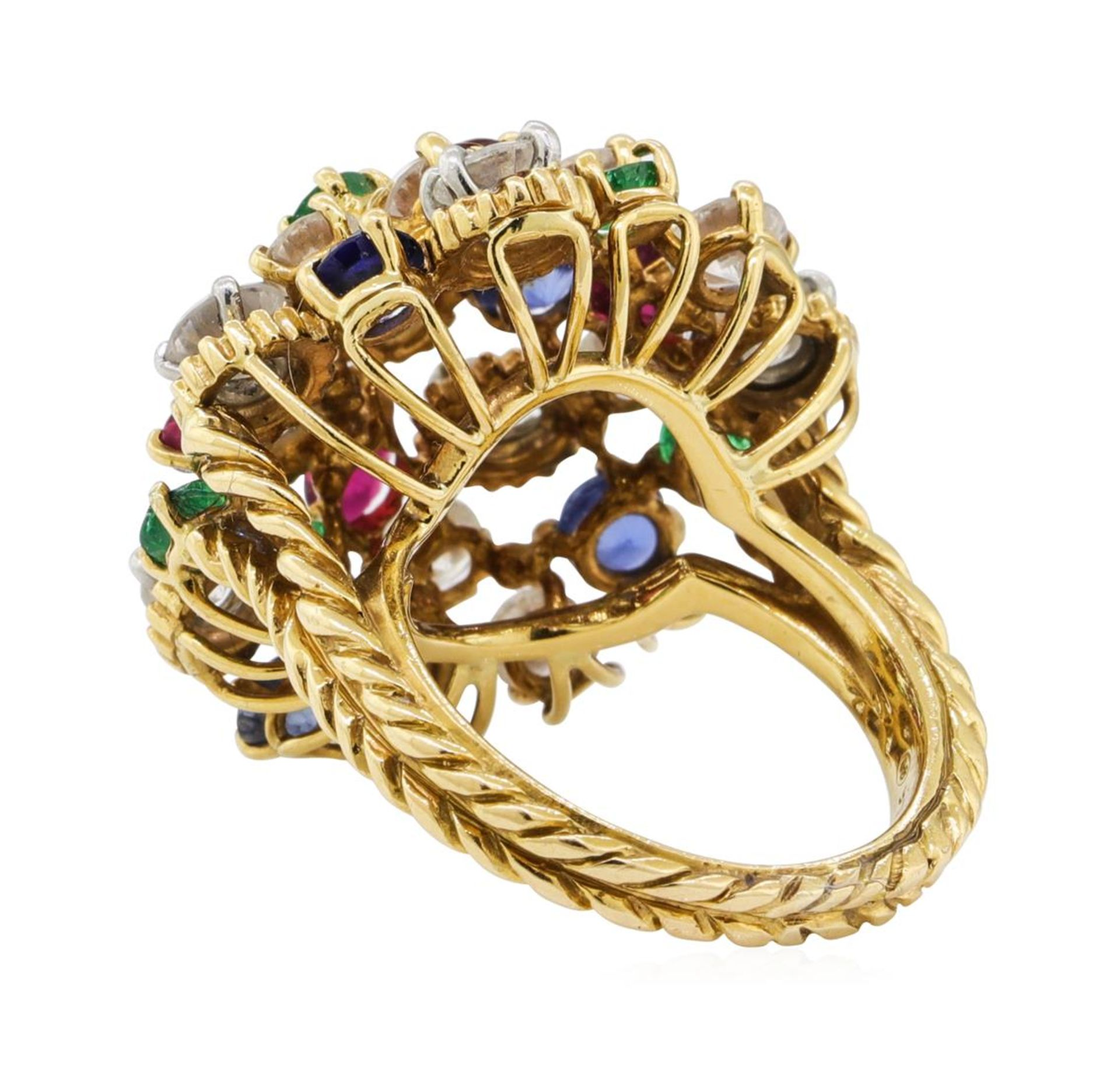 7.08 ctw Ruby, Emerald, Sapphire, and Diamond Ring - 18KT Yellow Gold and Platin - Image 3 of 6