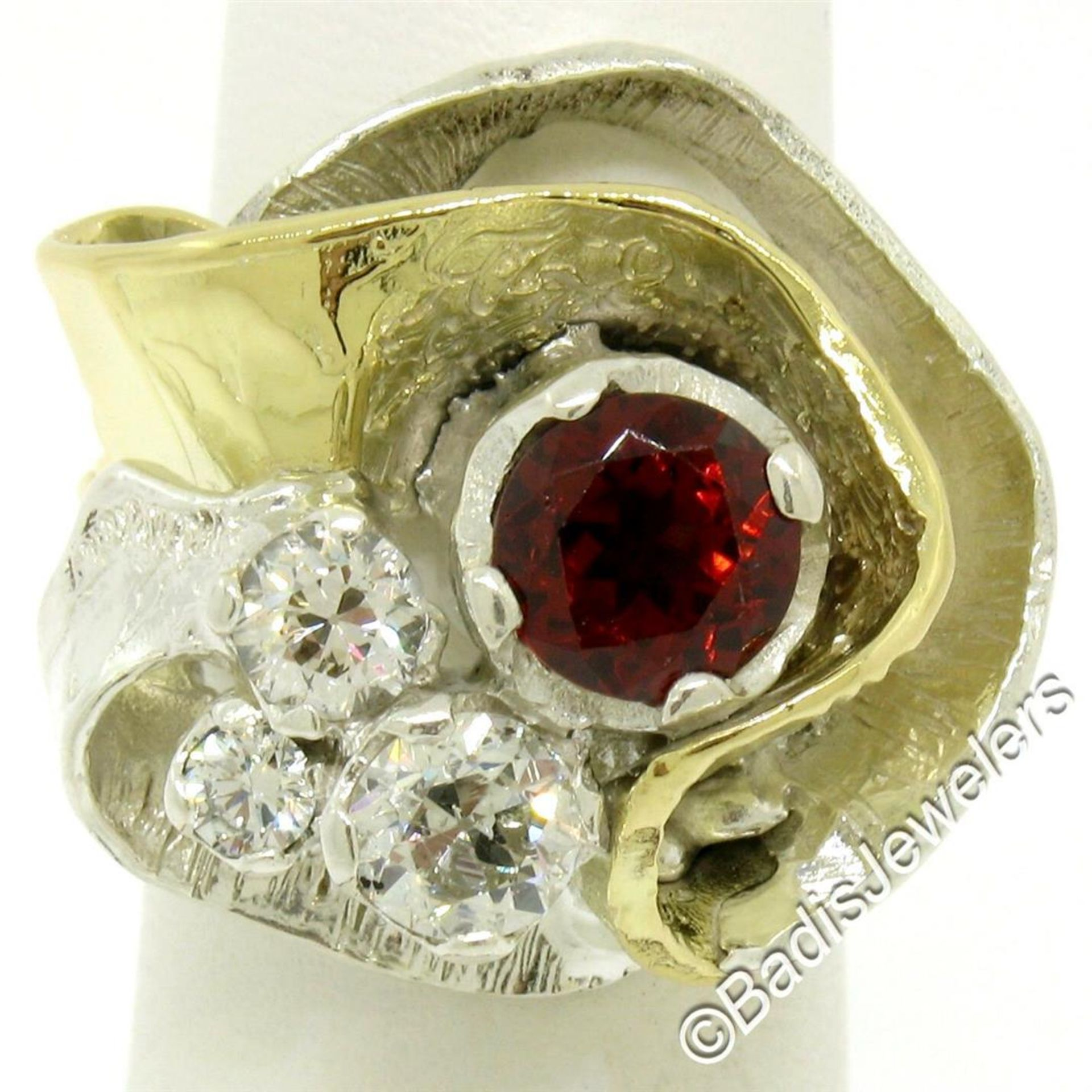 18kt Yellow Gold and Sterling Silver 2.73ctw Garnet and Diamond Cocktail Ring