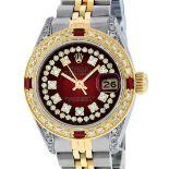 Rolex Ladies 2 Tone Red Vignette String Diamond Lugs & Ruby Datejust Wriswatch
