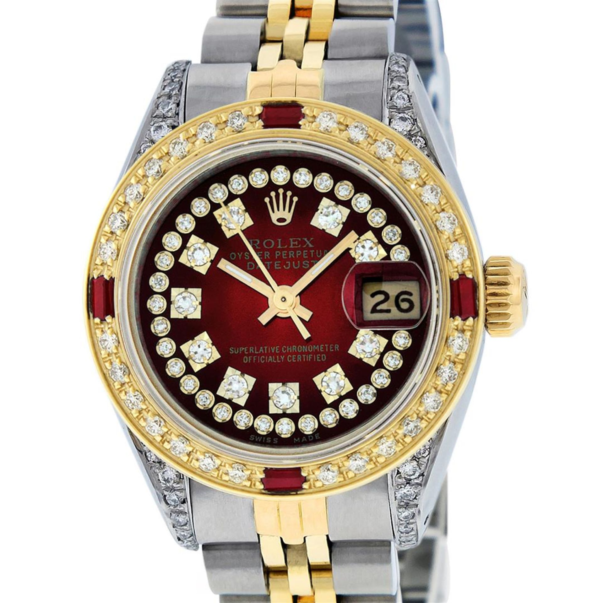 Rolex Ladies 2 Tone Red Vignette String Diamond Lugs & Ruby Datejust Wriswatch