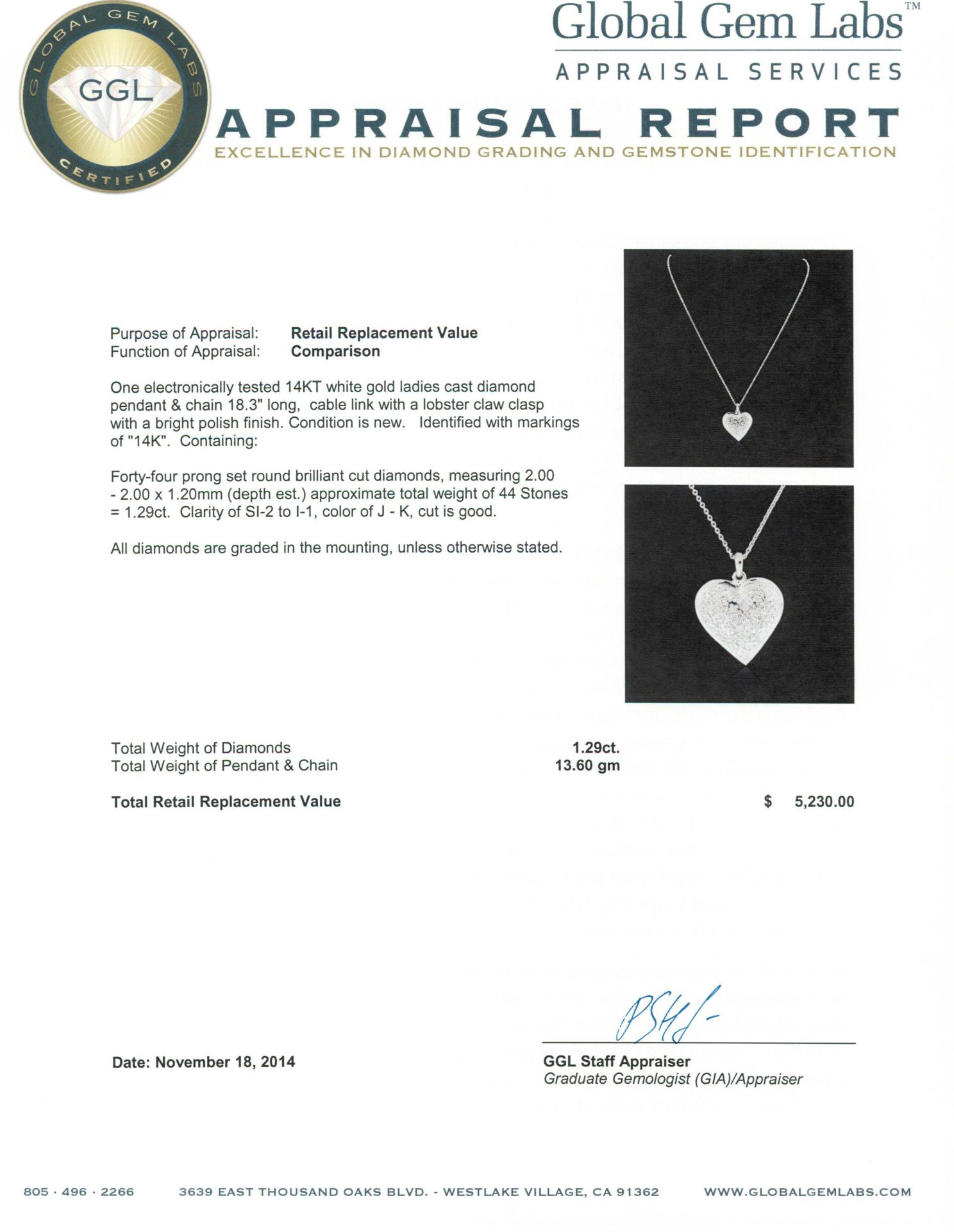 14KT White Gold 1.29 ctw Diamond Heart Pendant With Chain - Image 3 of 3