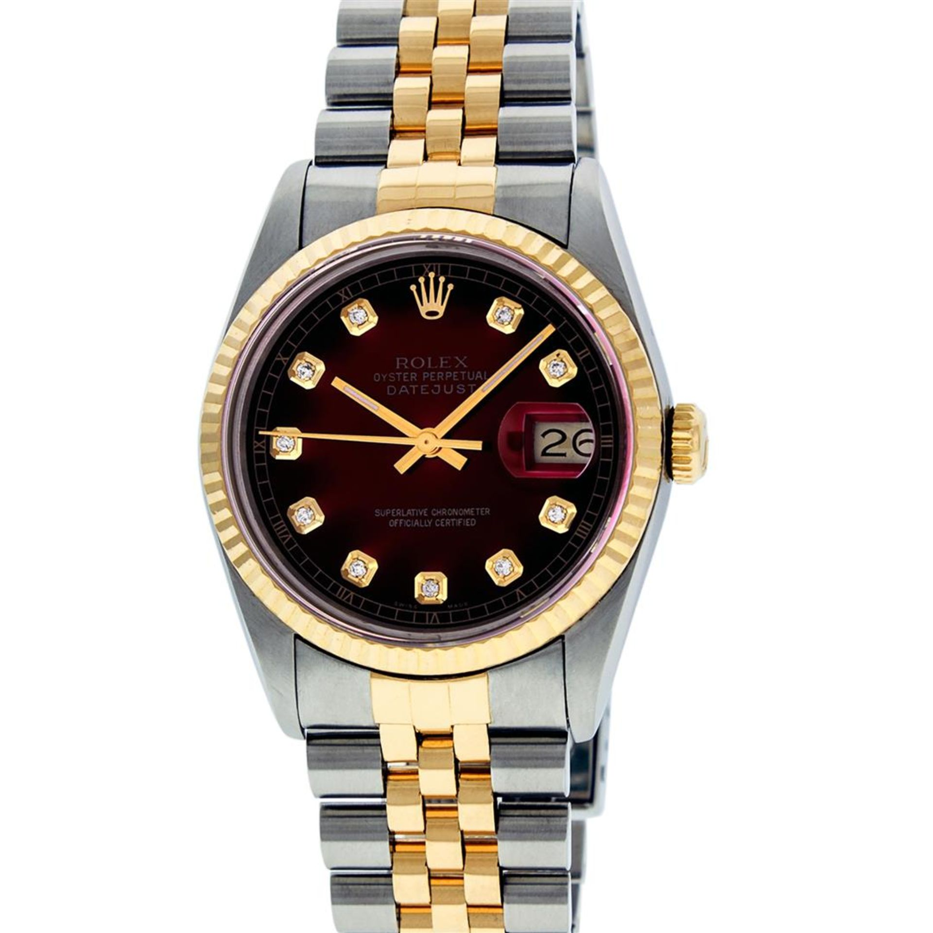 Rolex Mens 2 Tone Red Vignette Diamond 36MM Oyster Perpetual Datejust Wriswatch - Image 2 of 8