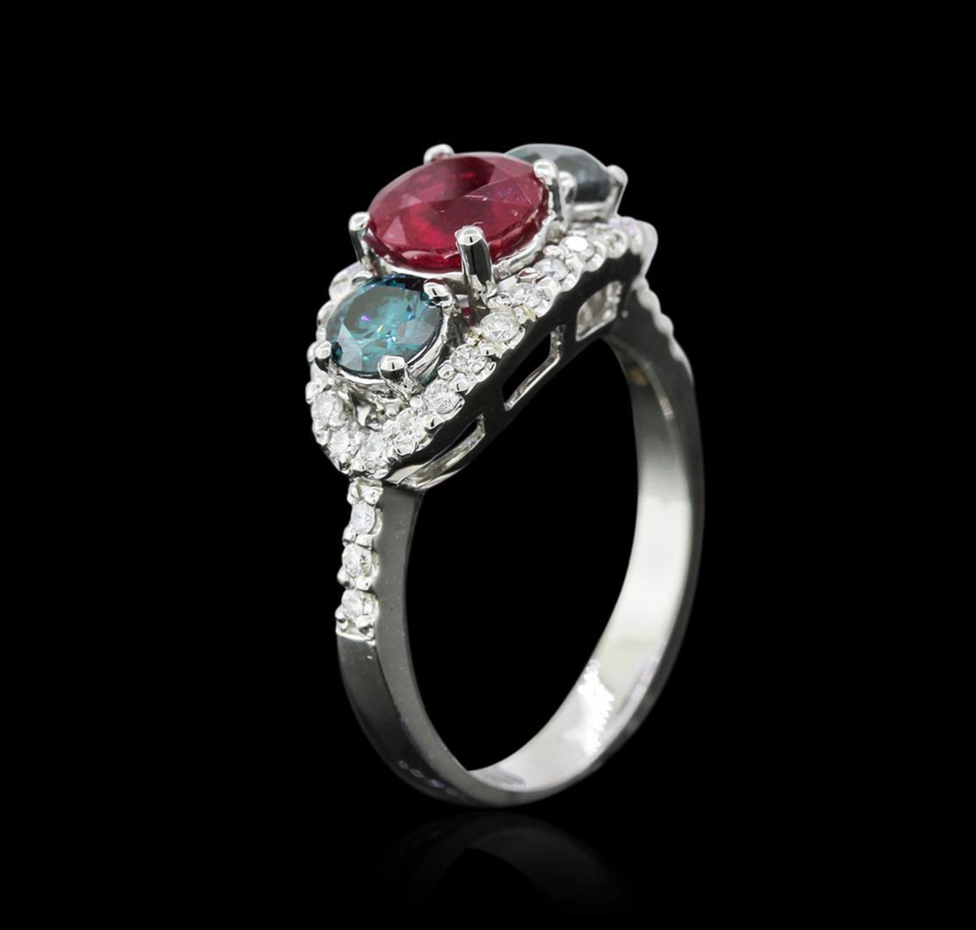 1.40 ctw Ruby and Diamond Ring - 14KT White Gold - Image 3 of 4
