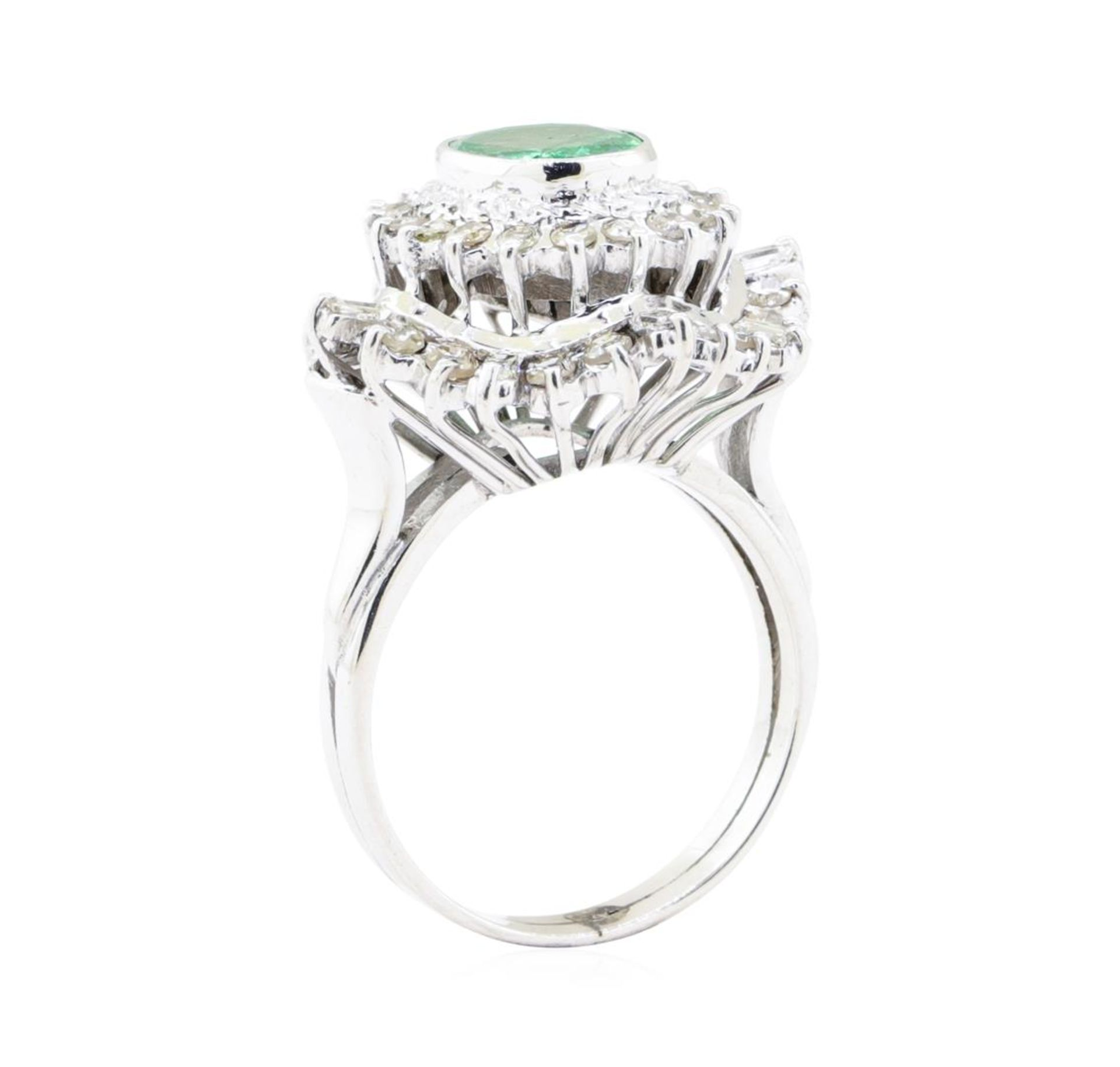 2.84 ctw Emerald And Diamond Double Halo Ring - 14KT White Gold - Image 4 of 5