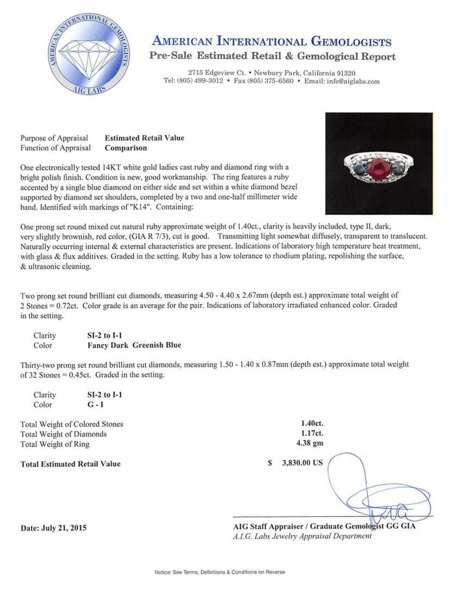 1.40 ctw Ruby and Diamond Ring - 14KT White Gold - Image 4 of 4
