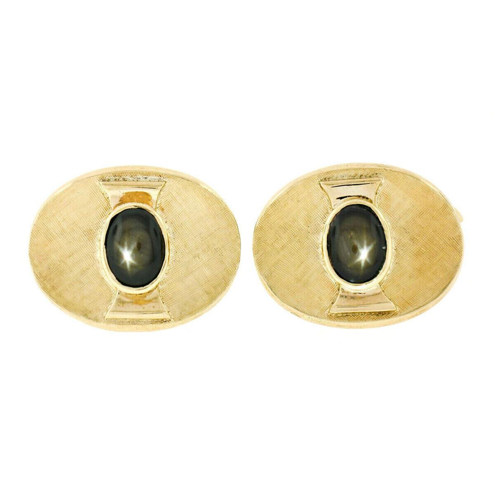 Vintage Men's 18kt Gold Oval Brown Star Sapphire Florentine Cuff Links