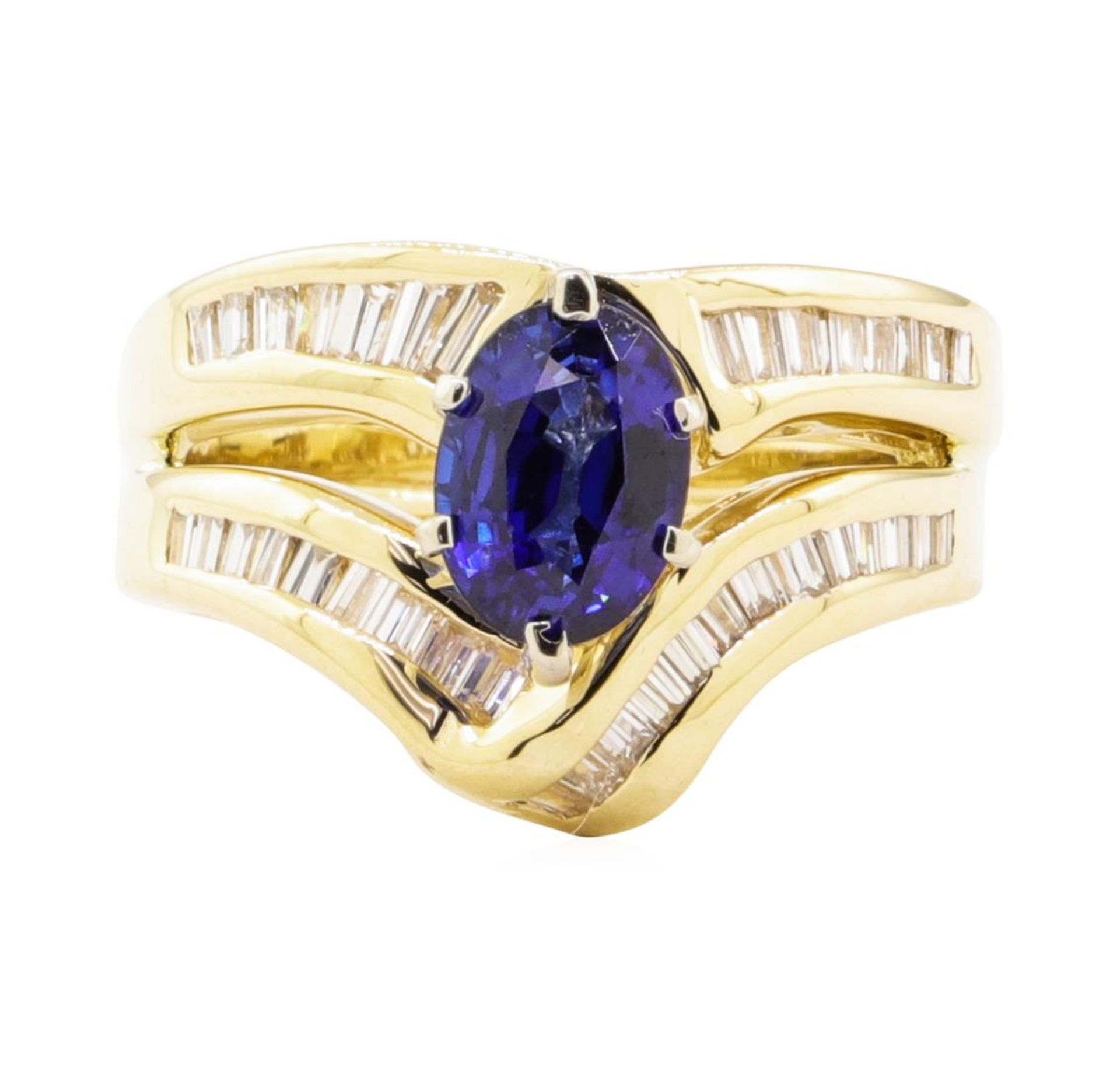2.28 ctw Blue Sapphire And Diamond Ring And Attached Band - 14KT Yellow Gold - Image 2 of 5
