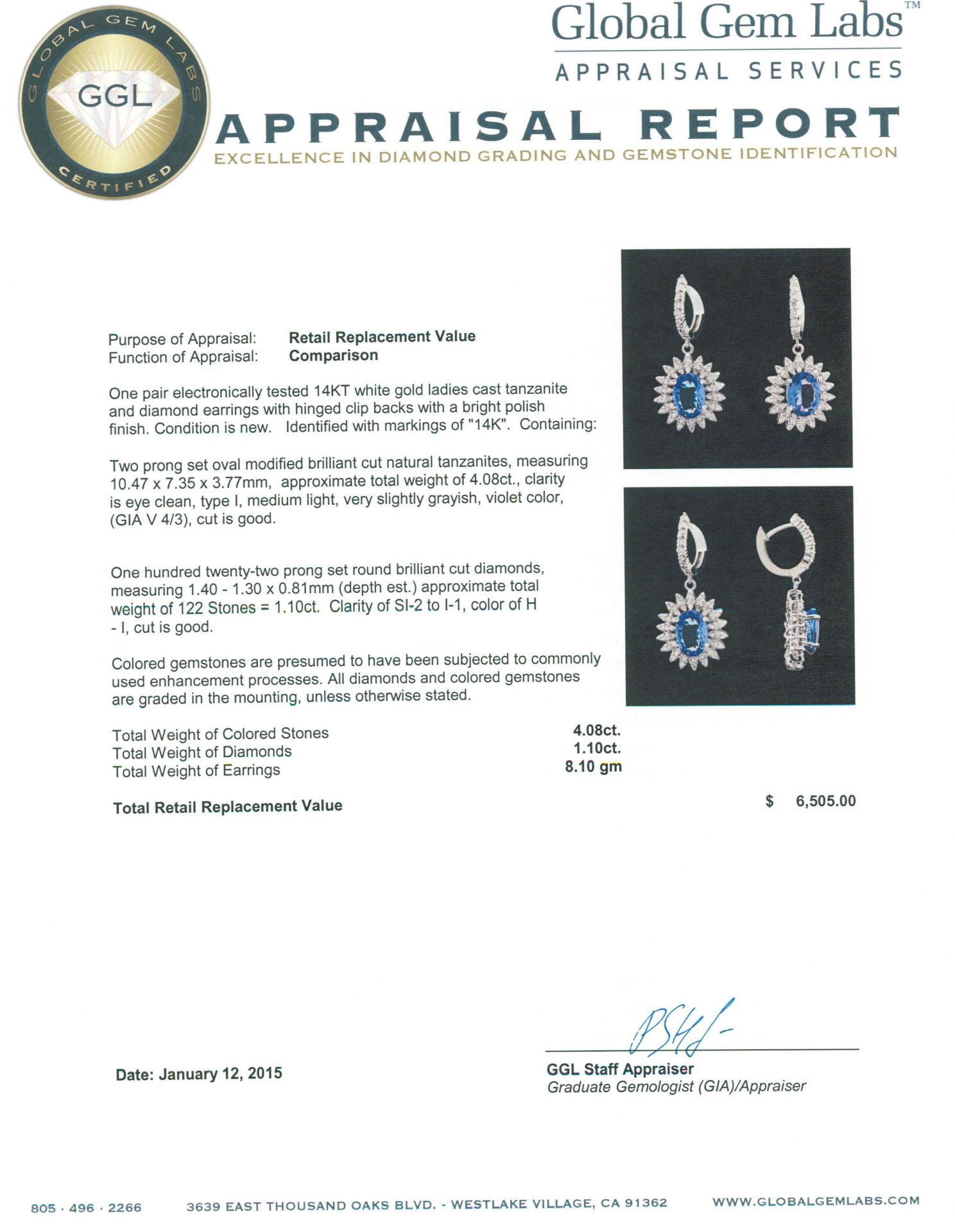 14KT White Gold 4.08 ctw Tanzanite and Diamond Earrings - Image 3 of 3