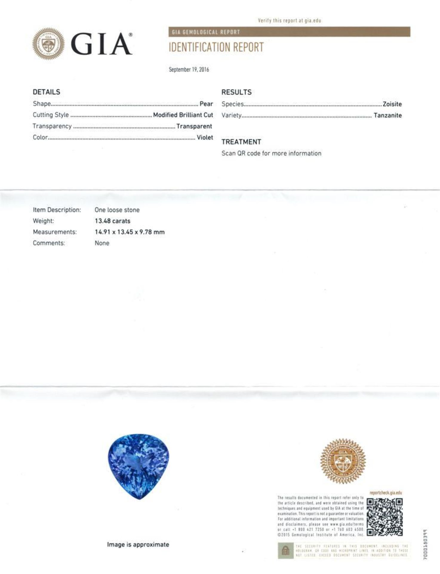 GIA Cert 13.48 ctw Tanzanite and Diamond Ring - 14KT White Gold - Image 6 of 6
