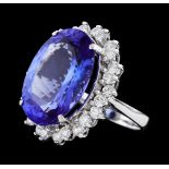 16.10 ctw Tanzanite and Diamond Ring - 14KT White Gold