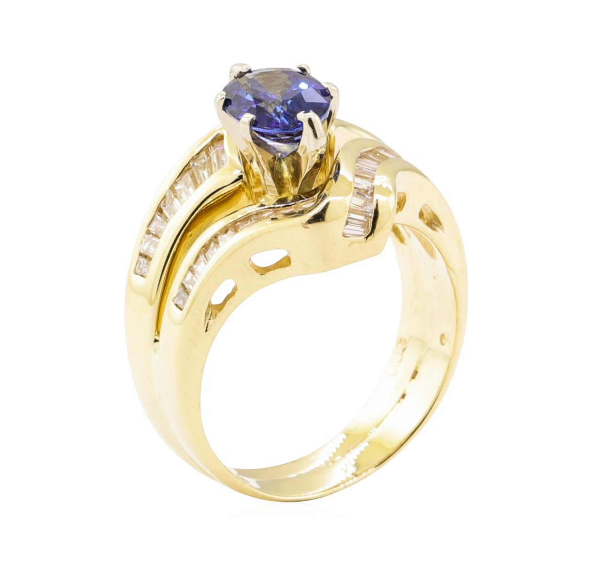 2.28 ctw Blue Sapphire And Diamond Ring And Attached Band - 14KT Yellow Gold - Image 4 of 5
