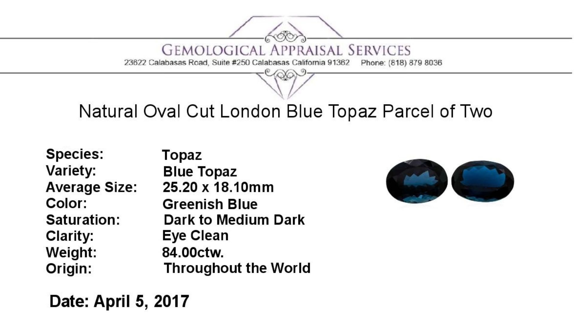 84.00ctw. Natural Oval Cut London Blue Topaz Parcel of Two - Image 3 of 3