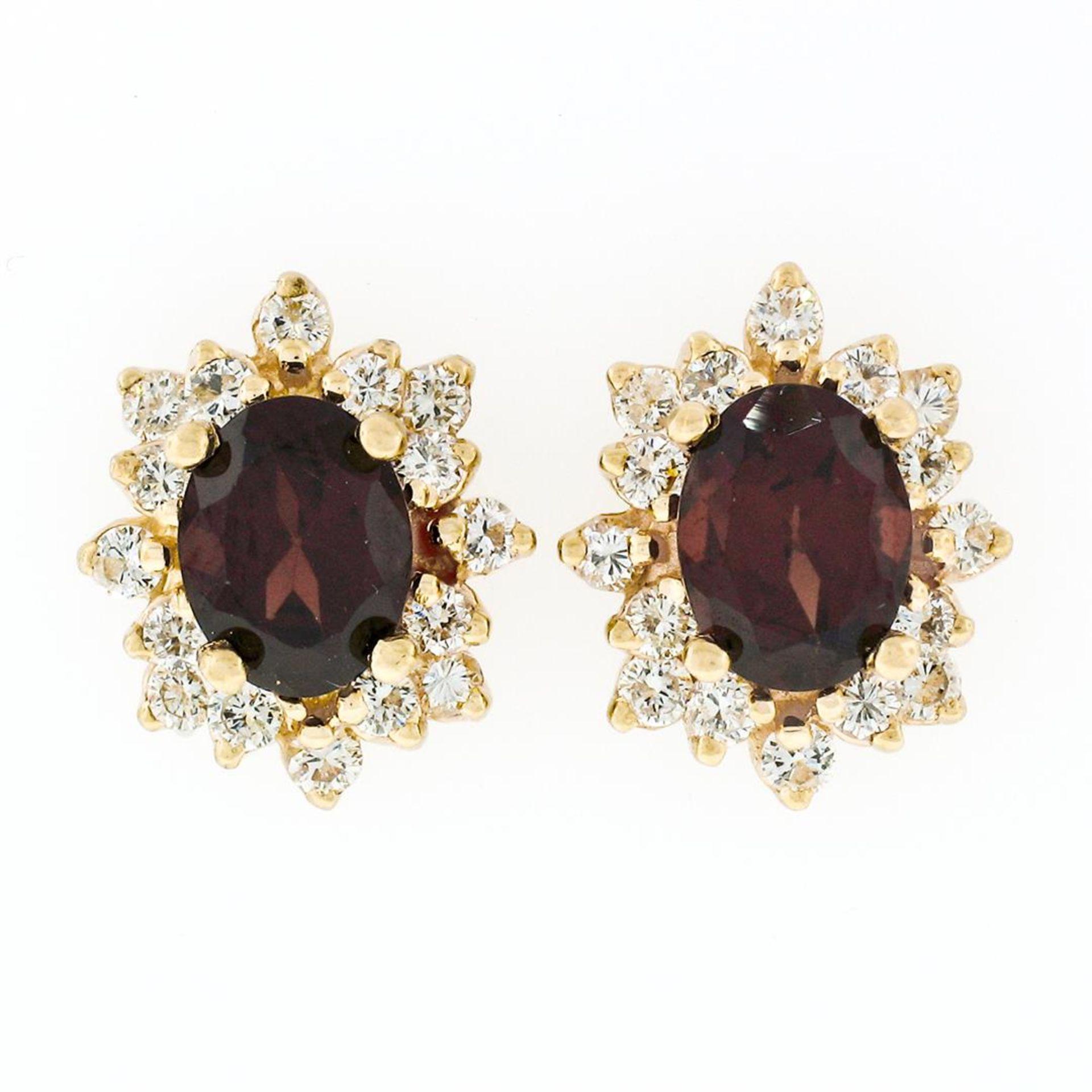 14k Yellow Gold 3.80ctw Oval Garnet & Layered Round Diamond Halo Stud Earrings