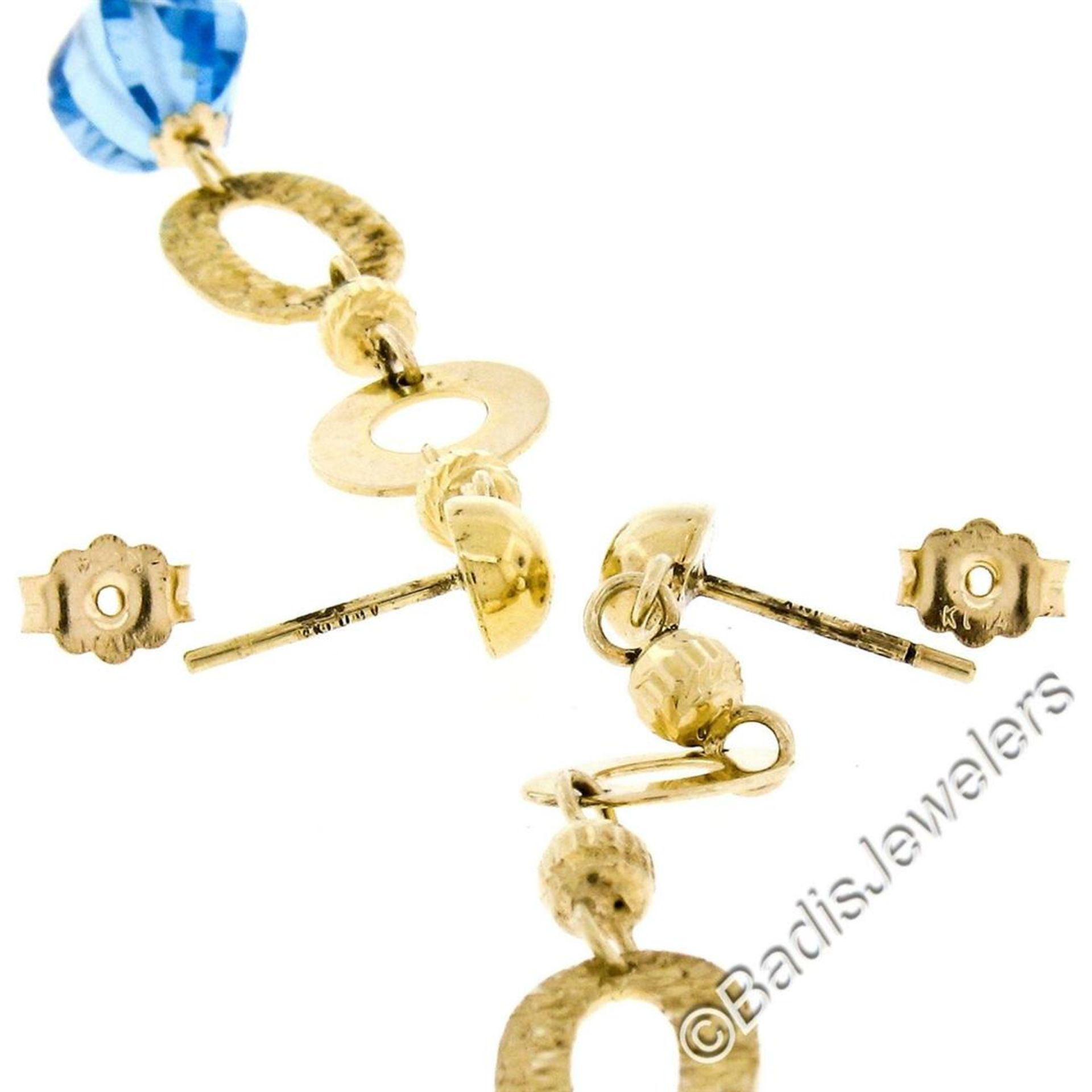 14kt Yellow Gold Briolette Cut Blue Topaz Bead Long Textured Dangle Earrings - Image 6 of 6