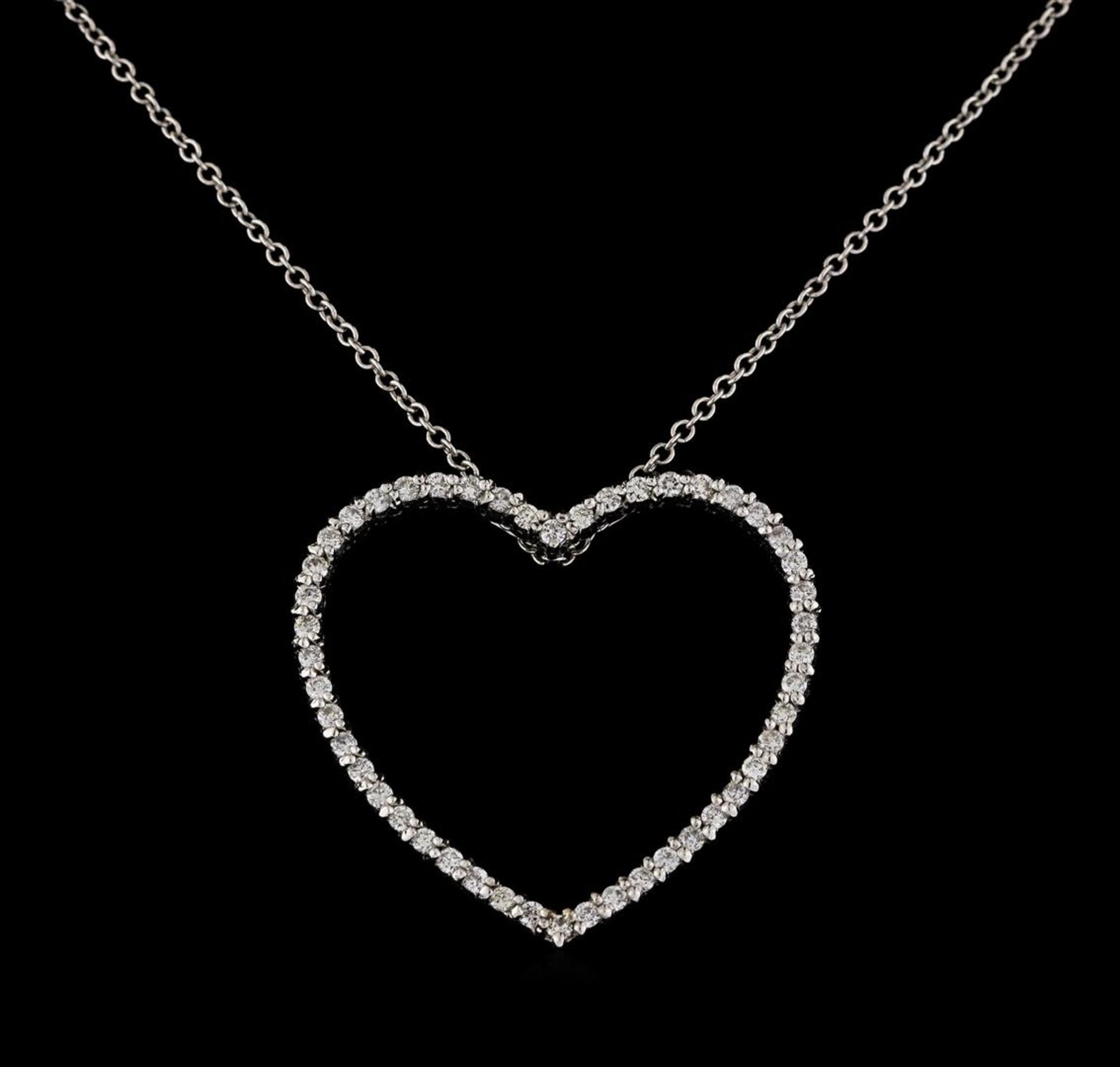0.48 ctw Diamond Pendant With Chain - 14KT White Gold - Image 2 of 2