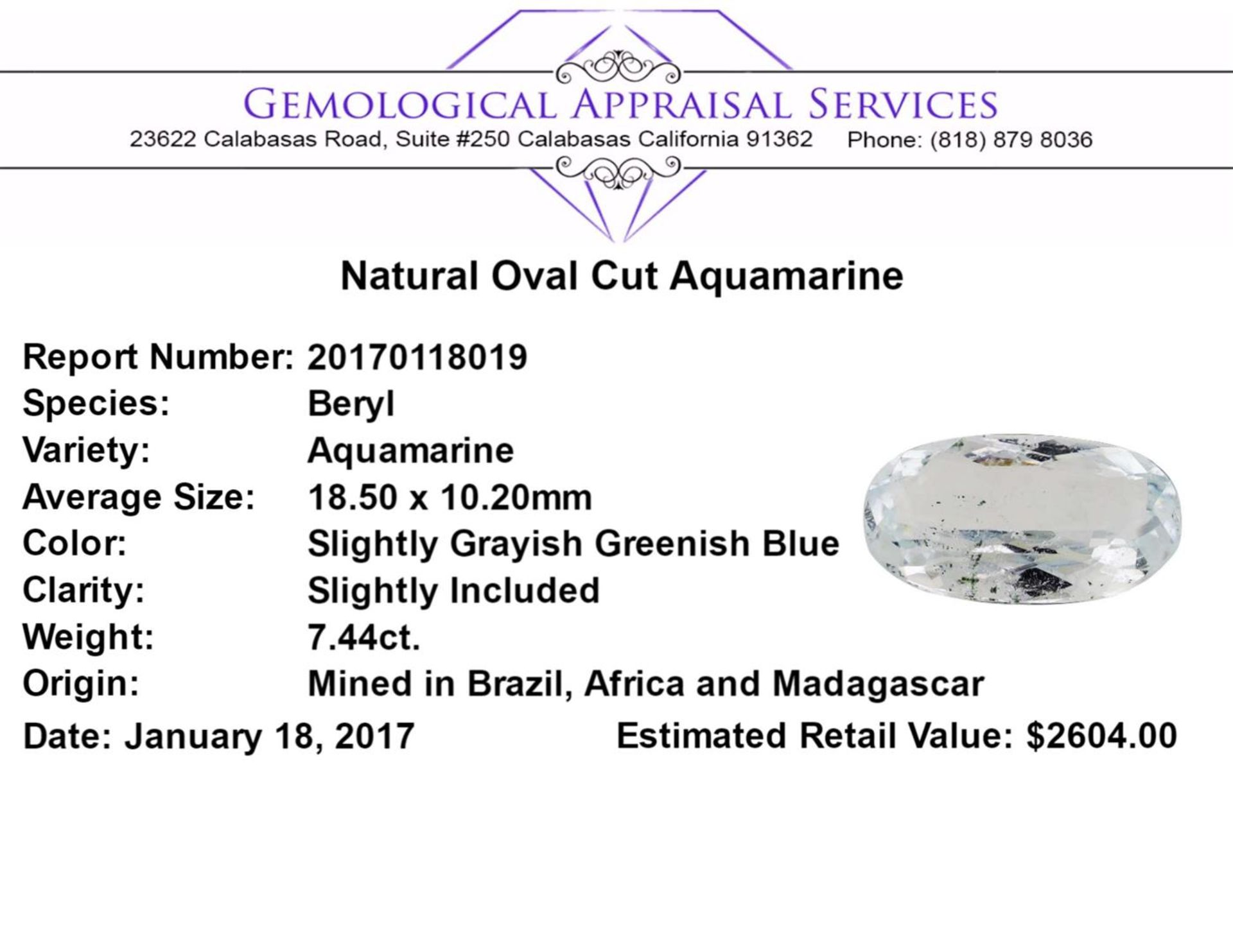 7.44ct.Natural Oval Cut Aquamarine - Image 2 of 2