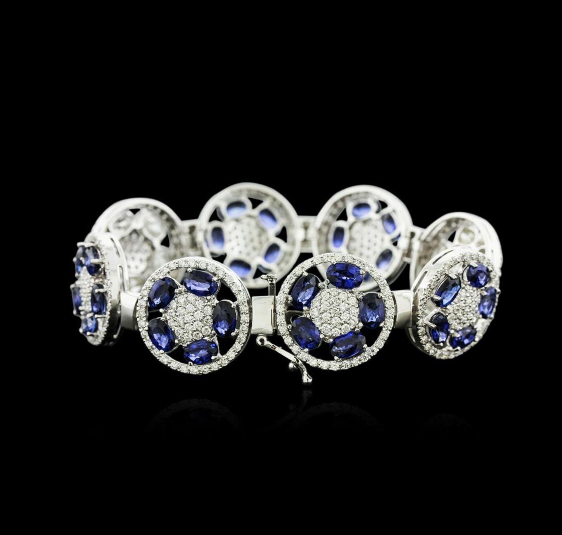 14KT White Gold 21.00 ctw Sapphire and Diamond Bracelet - Image 3 of 4
