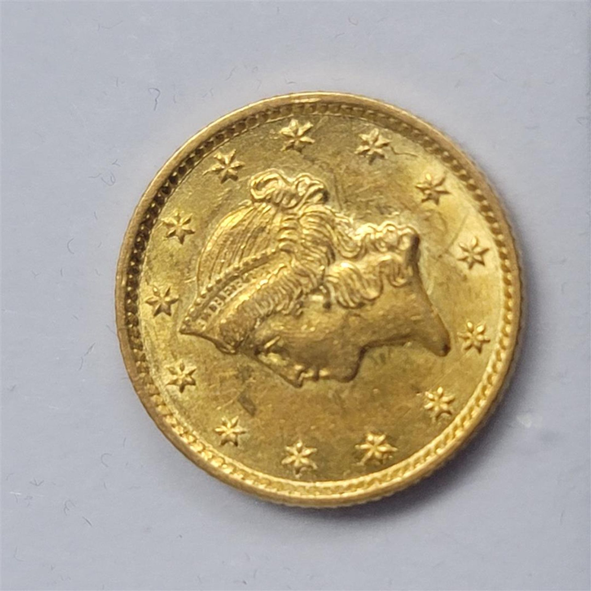 1854 $1 Gold Dollar Coin T-1 AU - Image 2 of 2