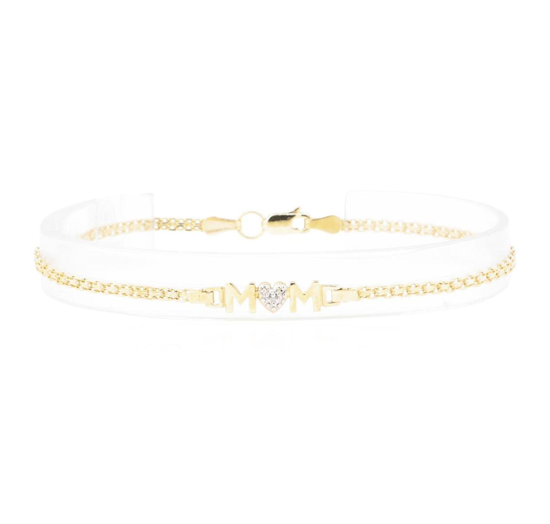 "0.01ct Diamond ""Mom"" Motif Bracelet - 10KT Yellow Gold"