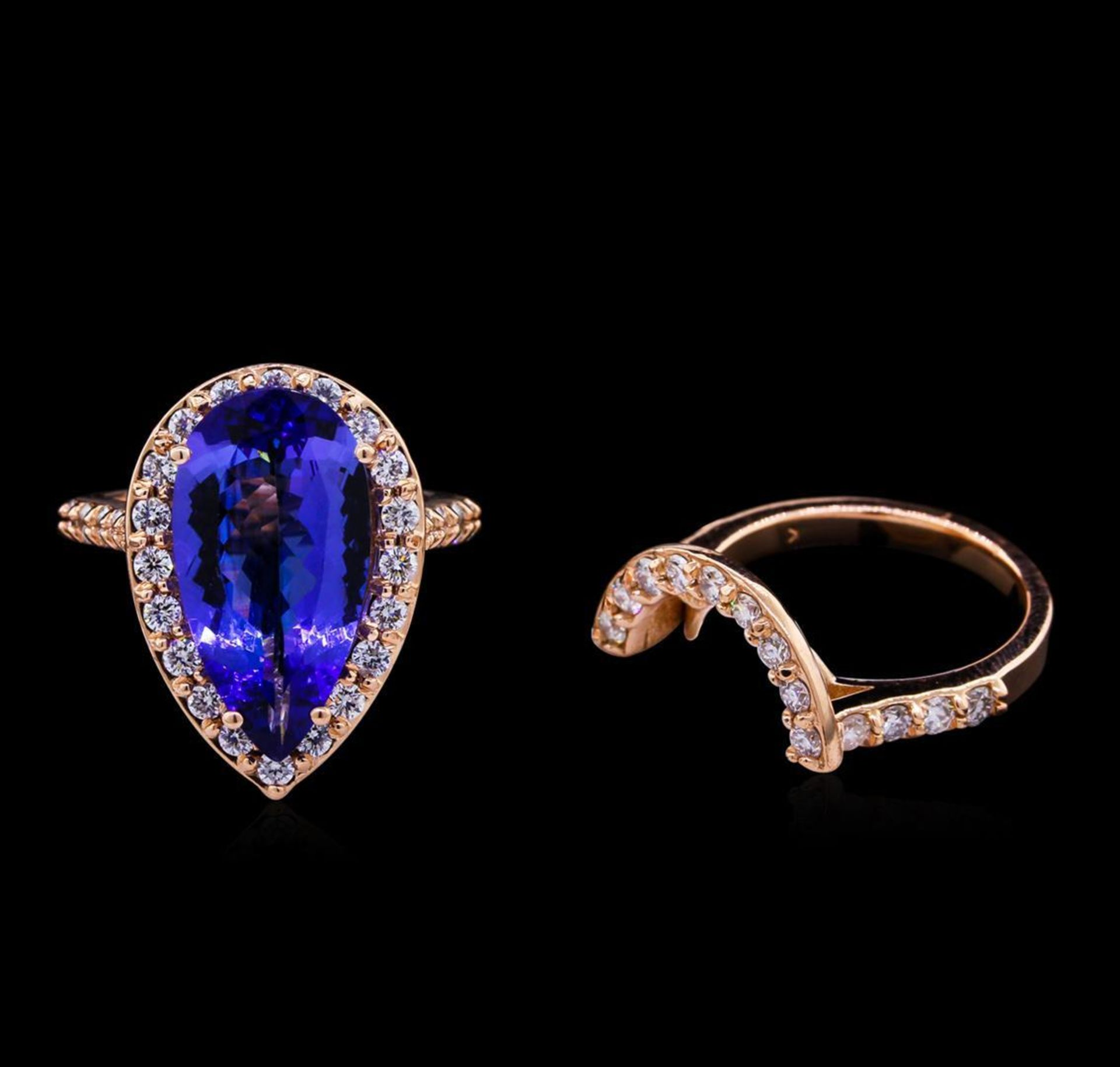 5.53 ctw Tanzanite and Diamond Ring Set - 14KT Rose Gold - Image 2 of 3