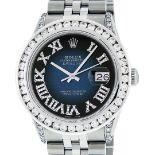 Rolex Mens Stainless Steel Blue Vignette Roman 3ctw Diamond Datejust Wristwatch