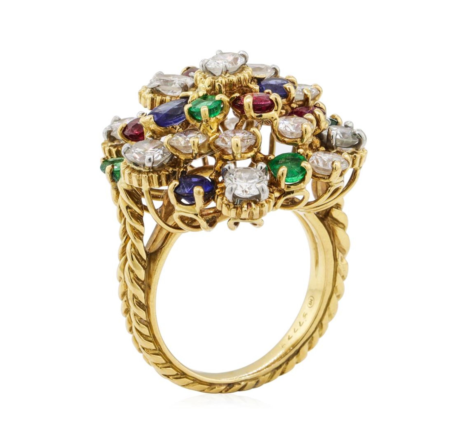 7.08 ctw Ruby, Emerald, Sapphire, and Diamond Ring - 18KT Yellow Gold and Platin - Image 4 of 6