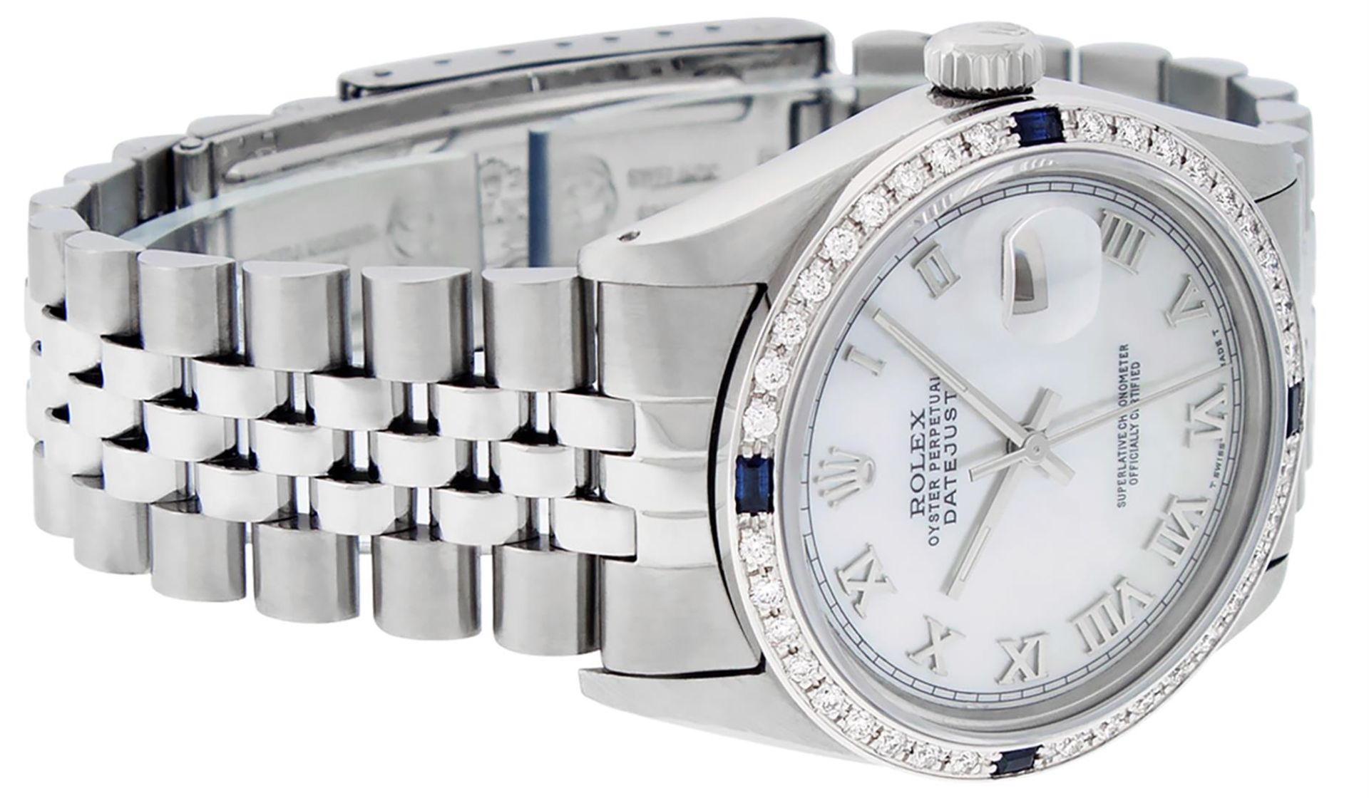 Rolex Mens Stainless Steel MOP Roman 36MM Diamond & Sapphire Datejust Wristwatch - Image 4 of 9