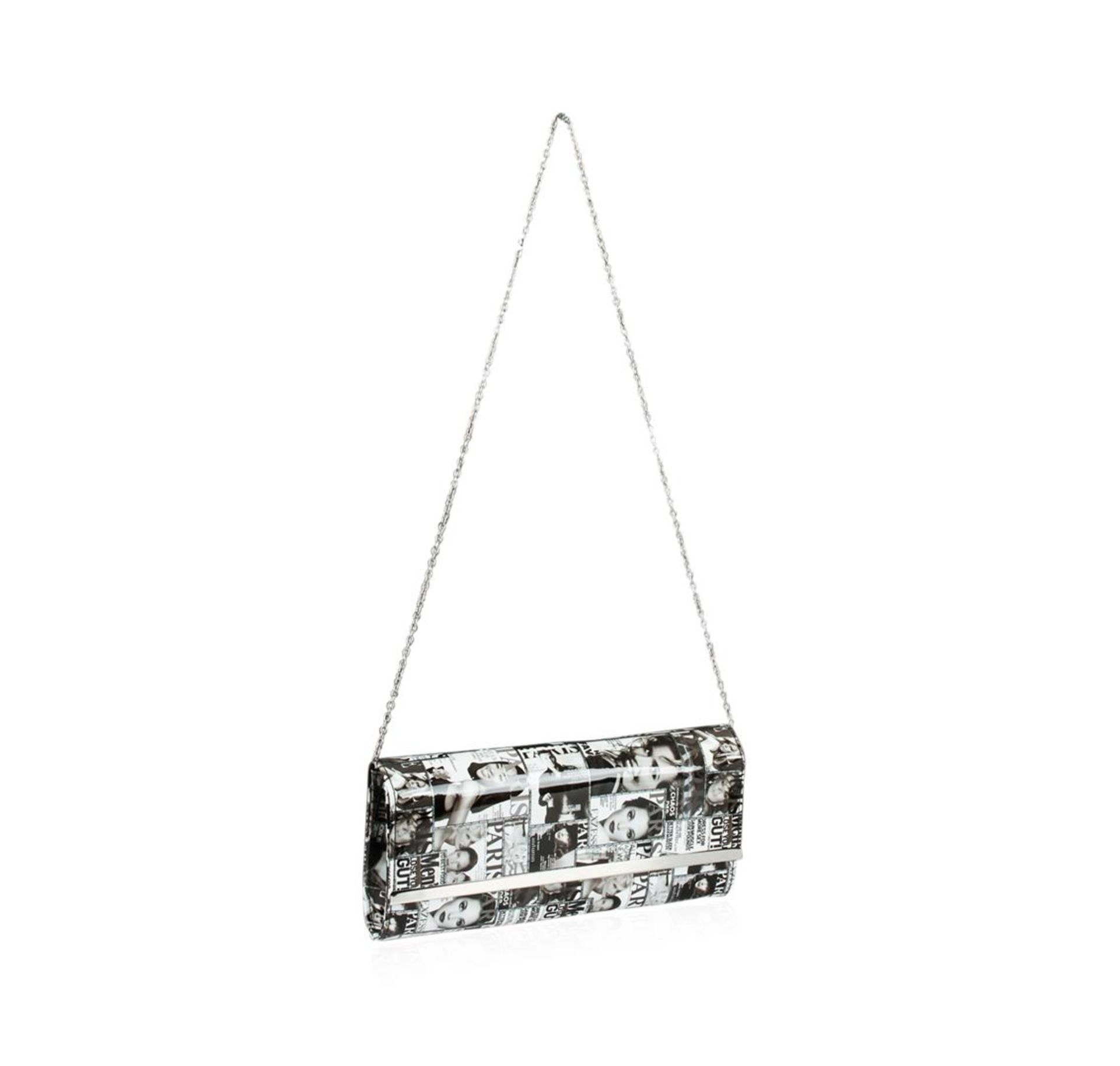 Black and White Fashionista Patent Oversized Clutch - Image 3 of 3