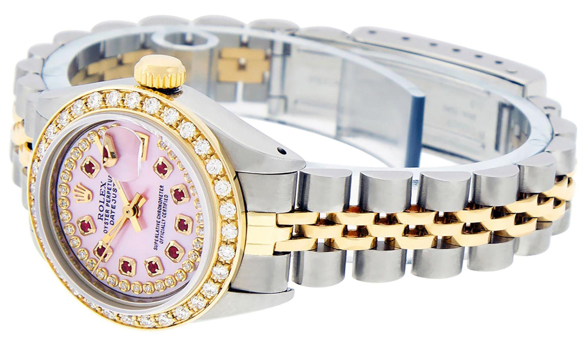 Rolex Ladies 2 Tone Pink MOP Ruby String Diamond Datejust Wristwatch - Image 5 of 9
