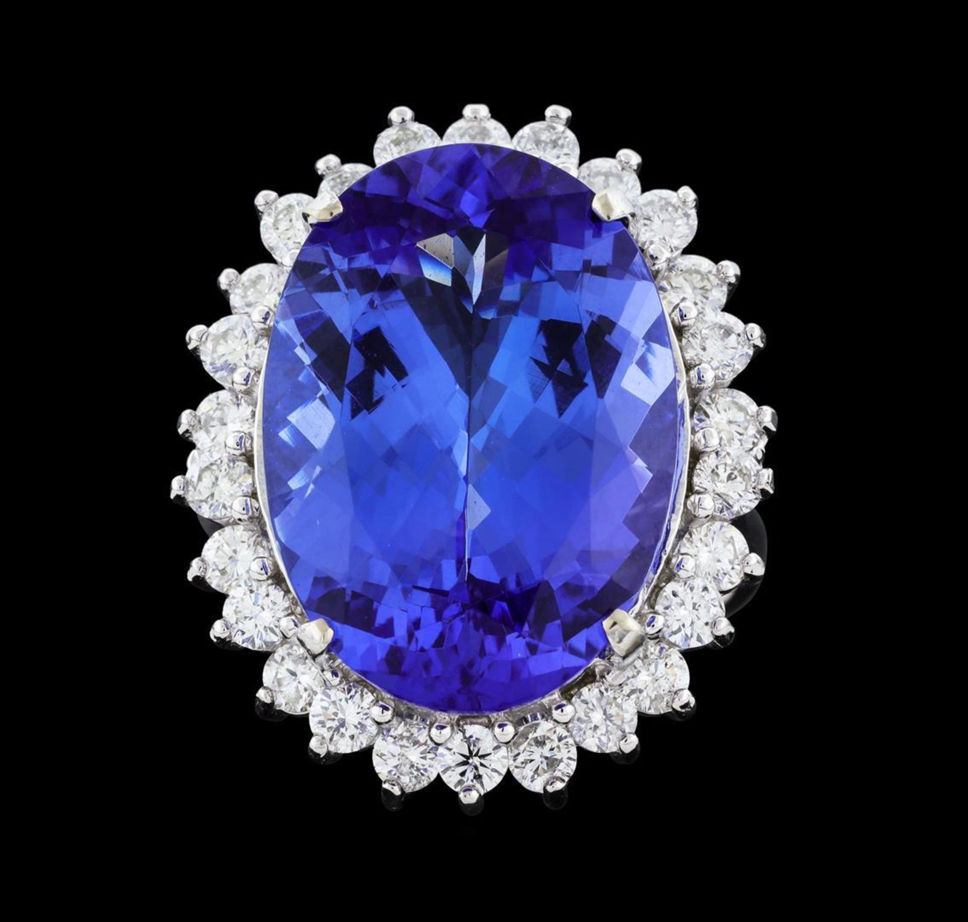 16.10 ctw Tanzanite and Diamond Ring - 14KT White Gold - Image 2 of 5
