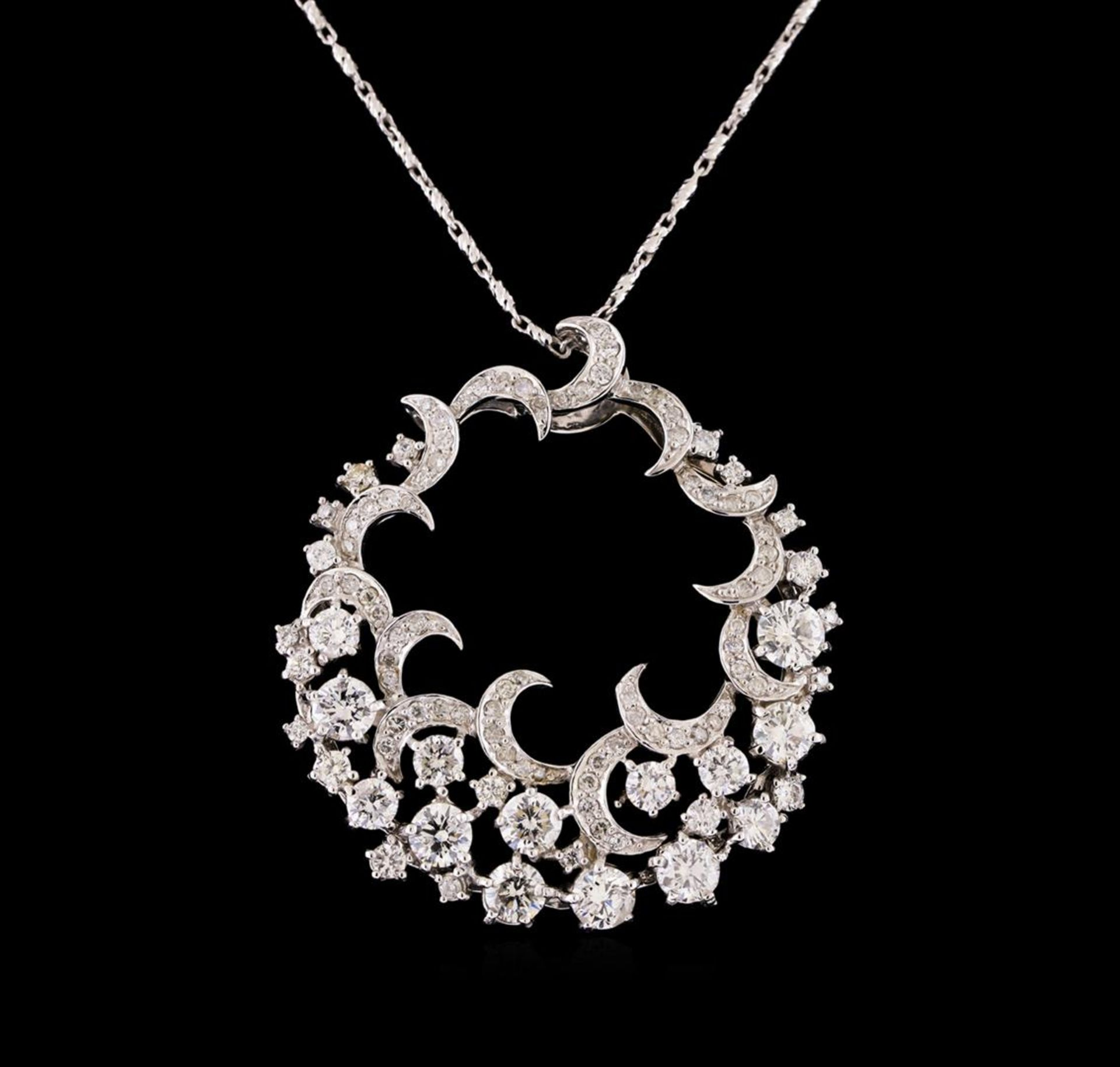 14KT White Gold 3.14 ctw Diamond Pendant With Chain - Image 2 of 3