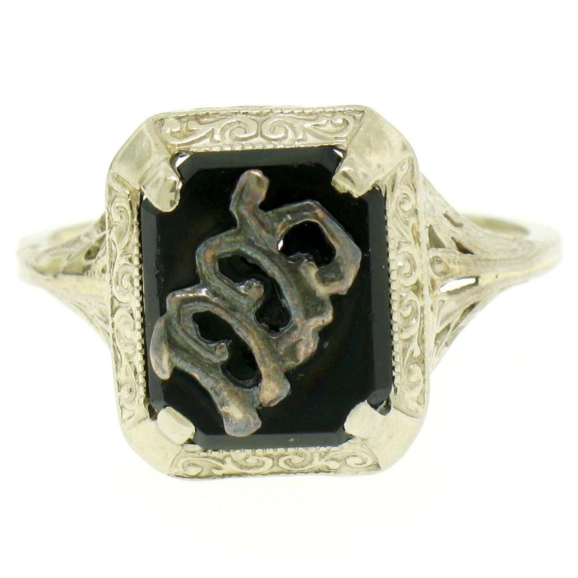 1925 14k White Gold Prong Set Black Onyx Filigree Dinner Ring - Image 4 of 8