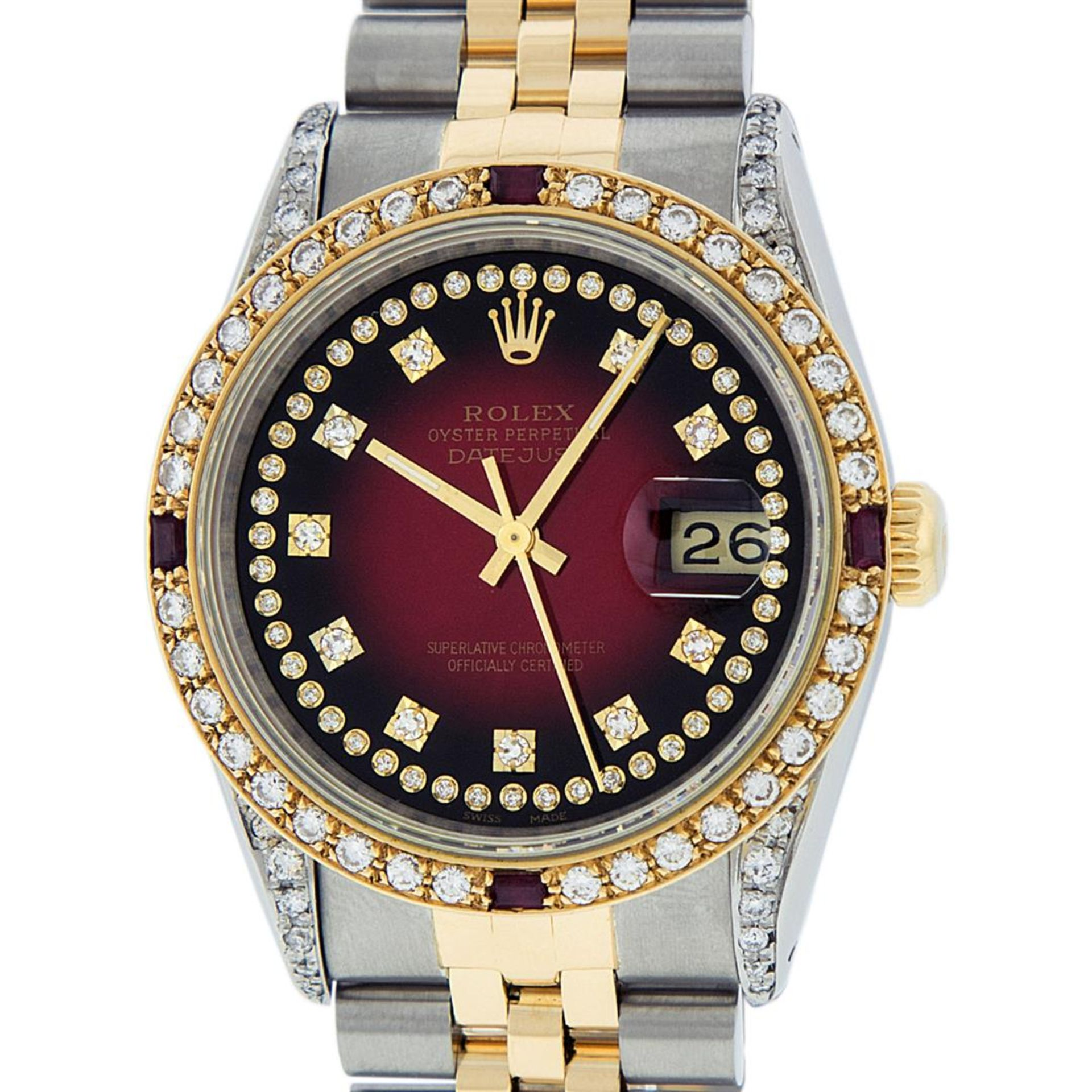 Rolex Mens 2 Tone Lugs Red Vignette Diamond String & Ruby Datejust Wristwatch - Image 3 of 9
