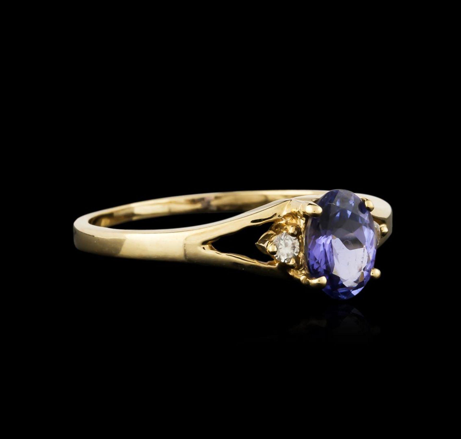 14KT Yellow Gold 0.93 ctw Tanzanite and Diamond Ring - Image 2 of 3