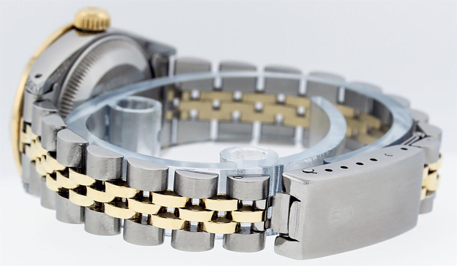 Rolex Ladies 2 Tone Black Lugs & Pyramid Diamond Datejust Wriswatch - Image 7 of 7