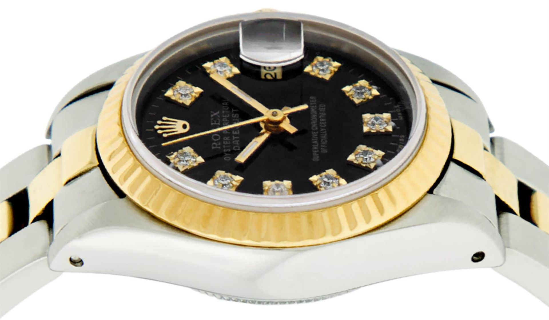 Rolex Ladies 26 Black Diamond Oyster Perpetual Datejust Polished Serviced - Image 8 of 9
