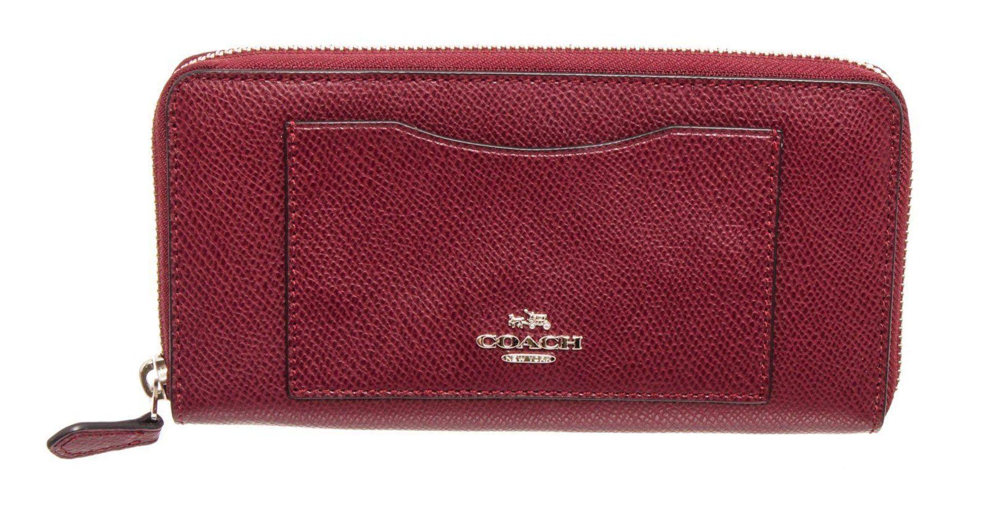 Coach Burgundy Leather Long Zippy Wallet